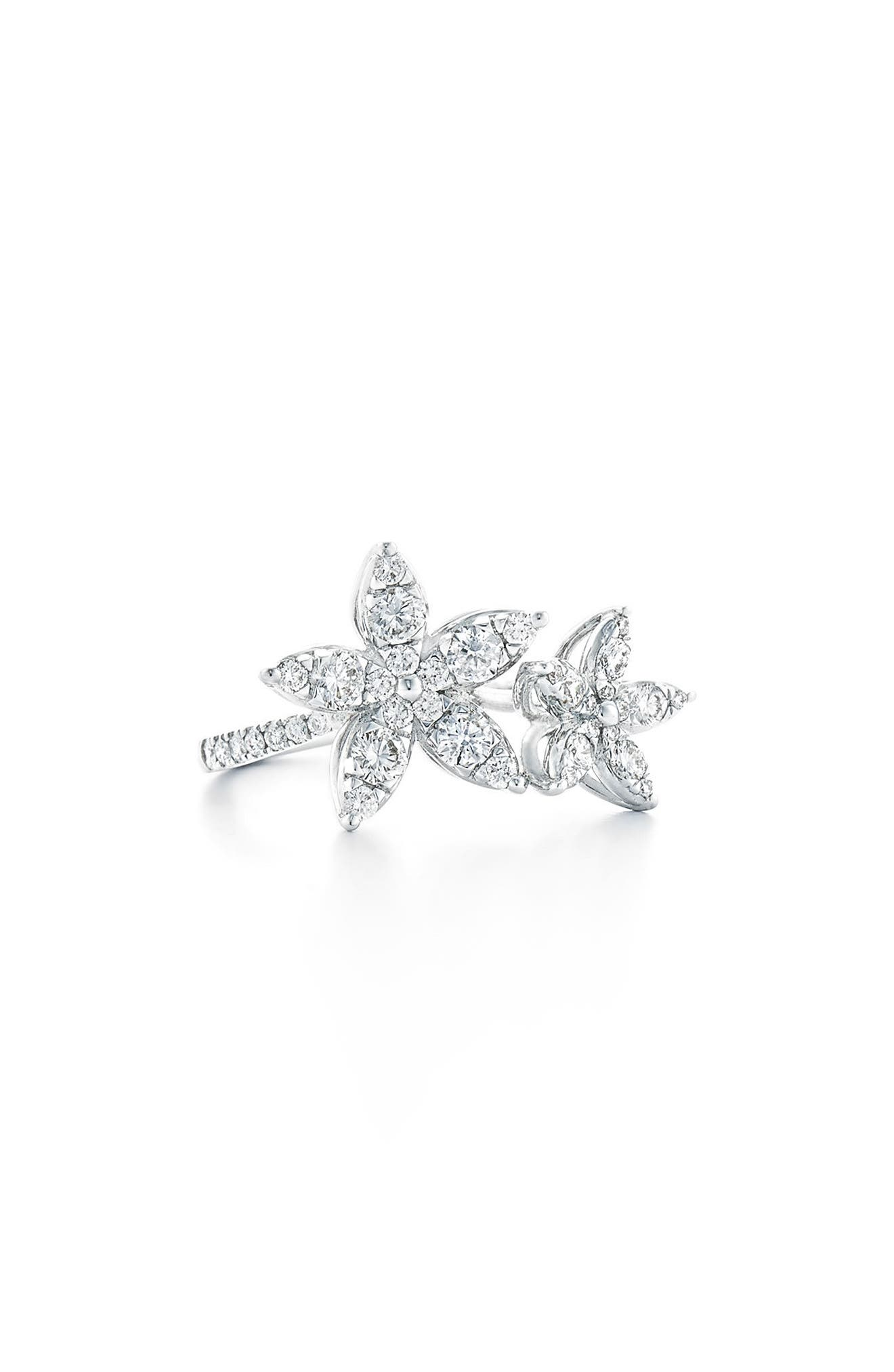 Sunburst Diamond Station Ring,                             Alternate thumbnail 2, color,                             WHITE GOLD