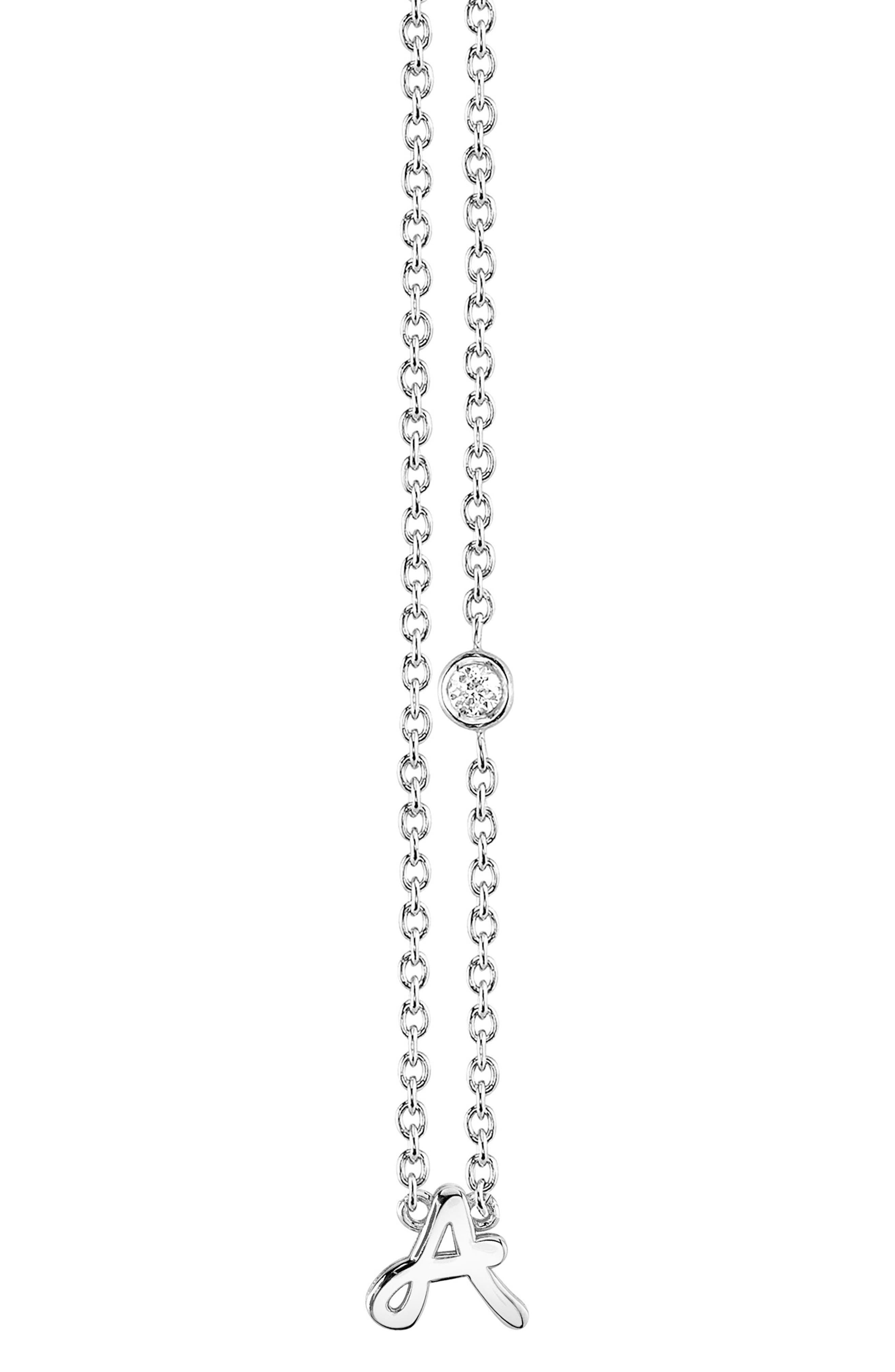 Diamond Initial Pendant Necklace,                         Main,                         color, SILVER A