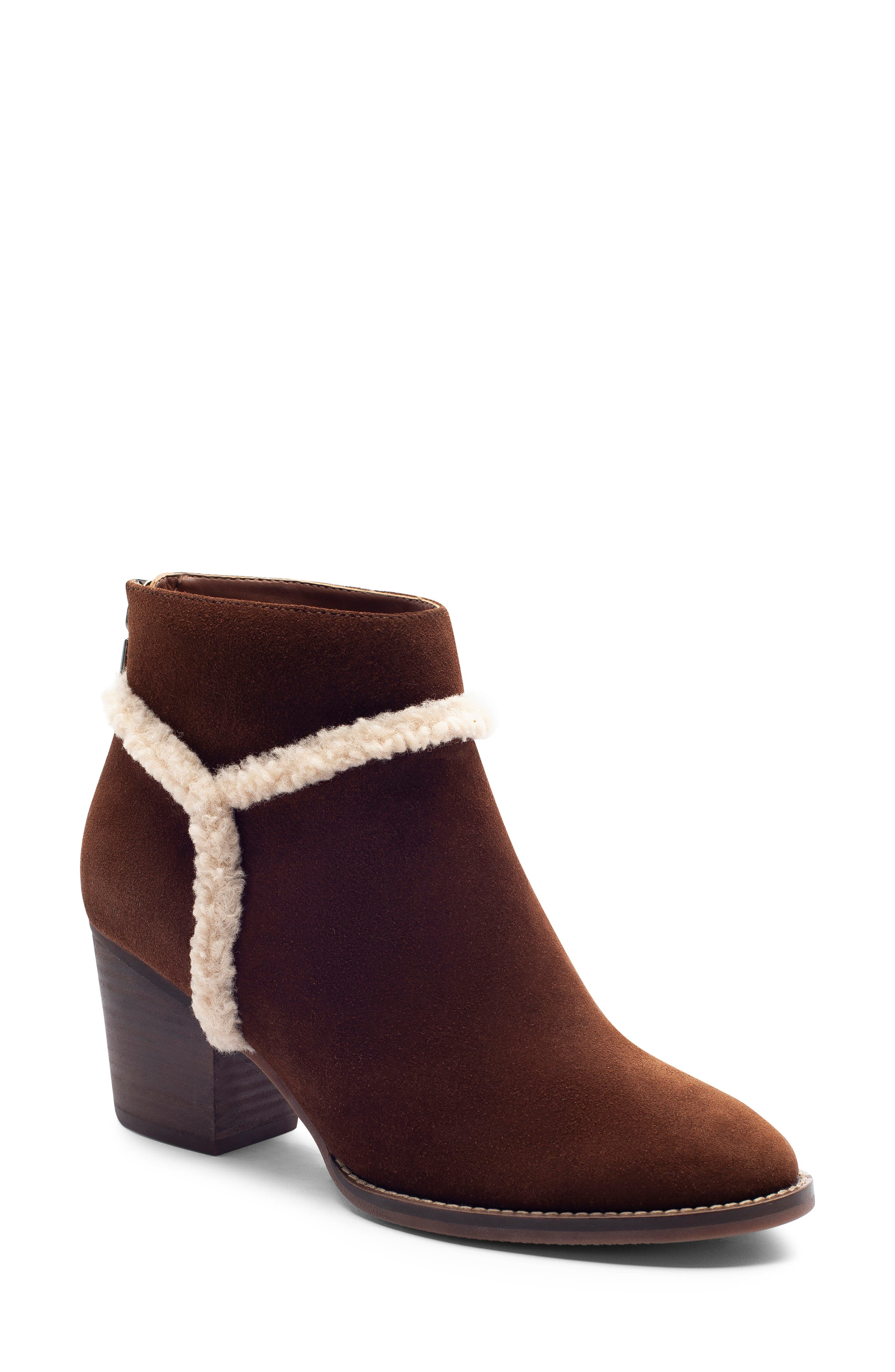 Netti Waterproof Bootie,                         Main,                         color, CHESTNUT SUEDE