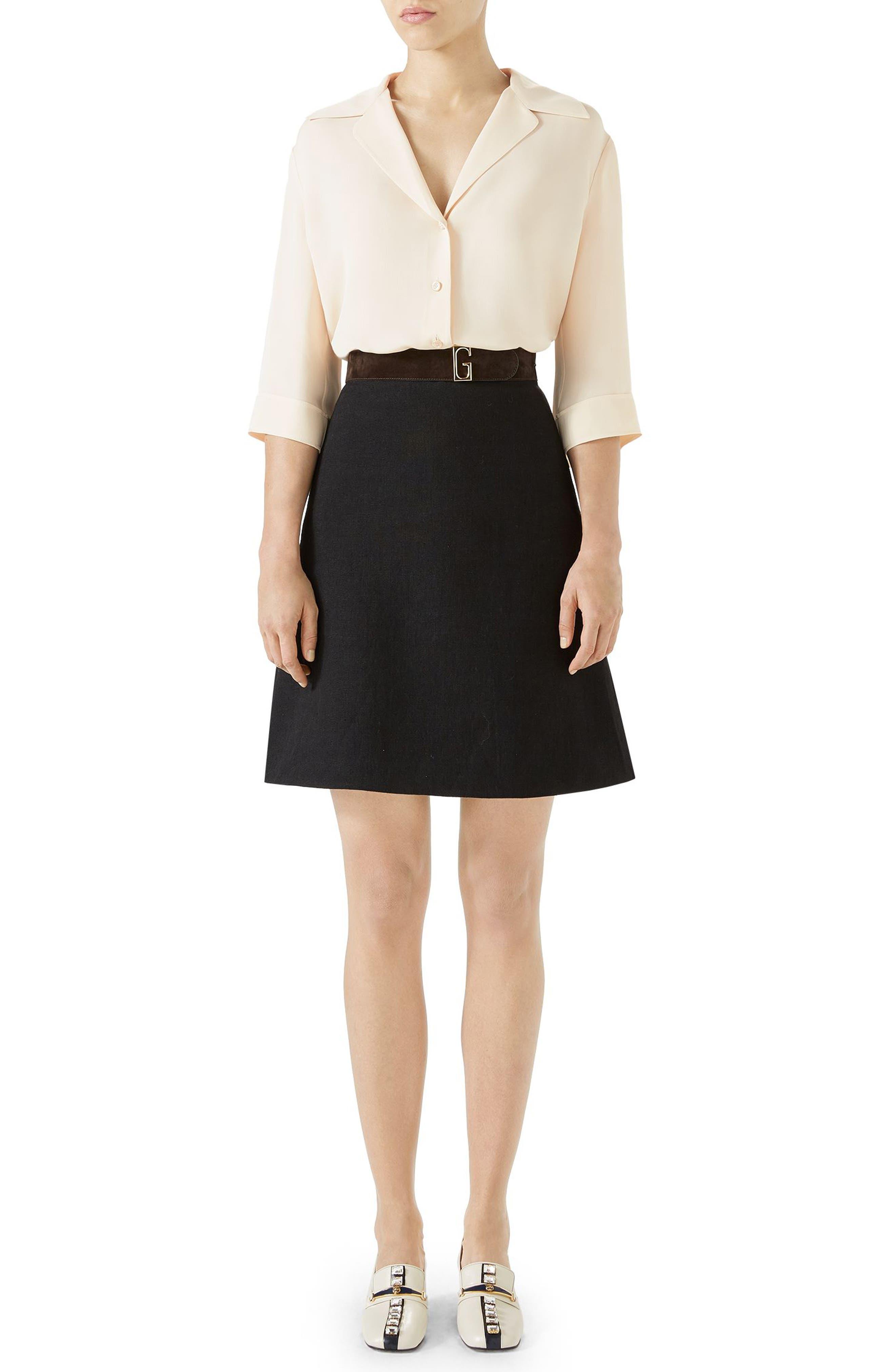 Linen Skirt with Suede Belt,                             Alternate thumbnail 4, color,                             BLACK