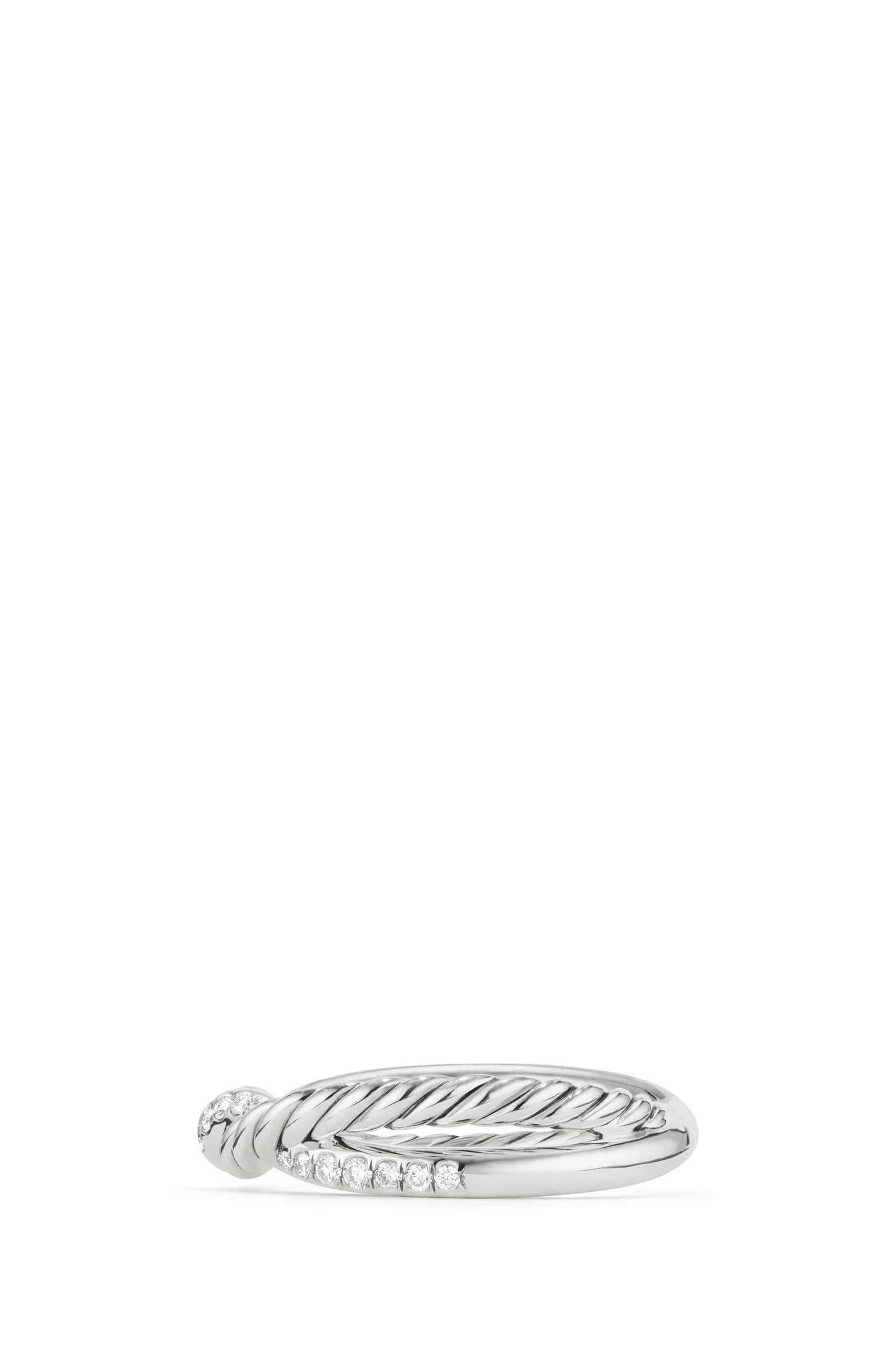 Continuance Twist Ring with Diamonds,                             Alternate thumbnail 3, color,                             SILVER/ DIAMOND