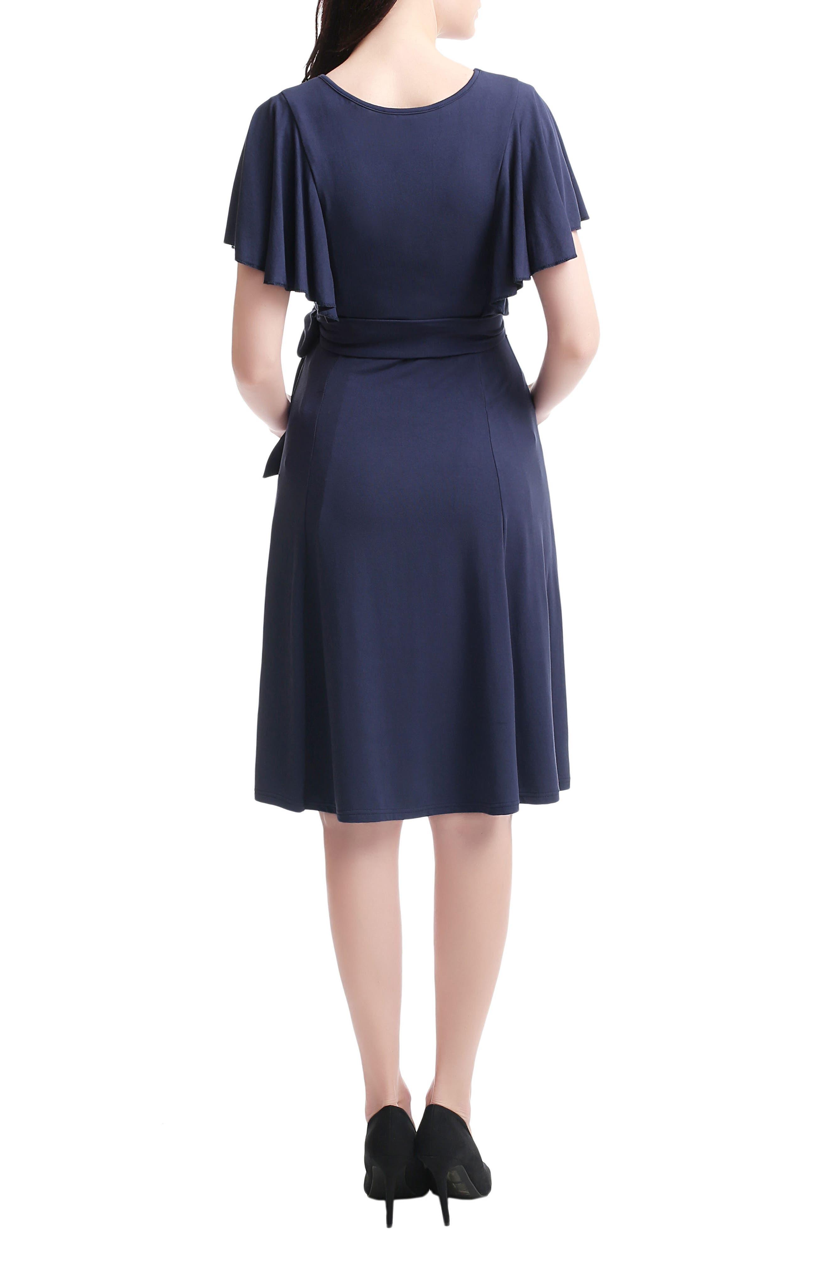 Kimi & Kai Rhea Tie Maternity/Nursing Skater Dress,                             Alternate thumbnail 2, color,                             NAVY