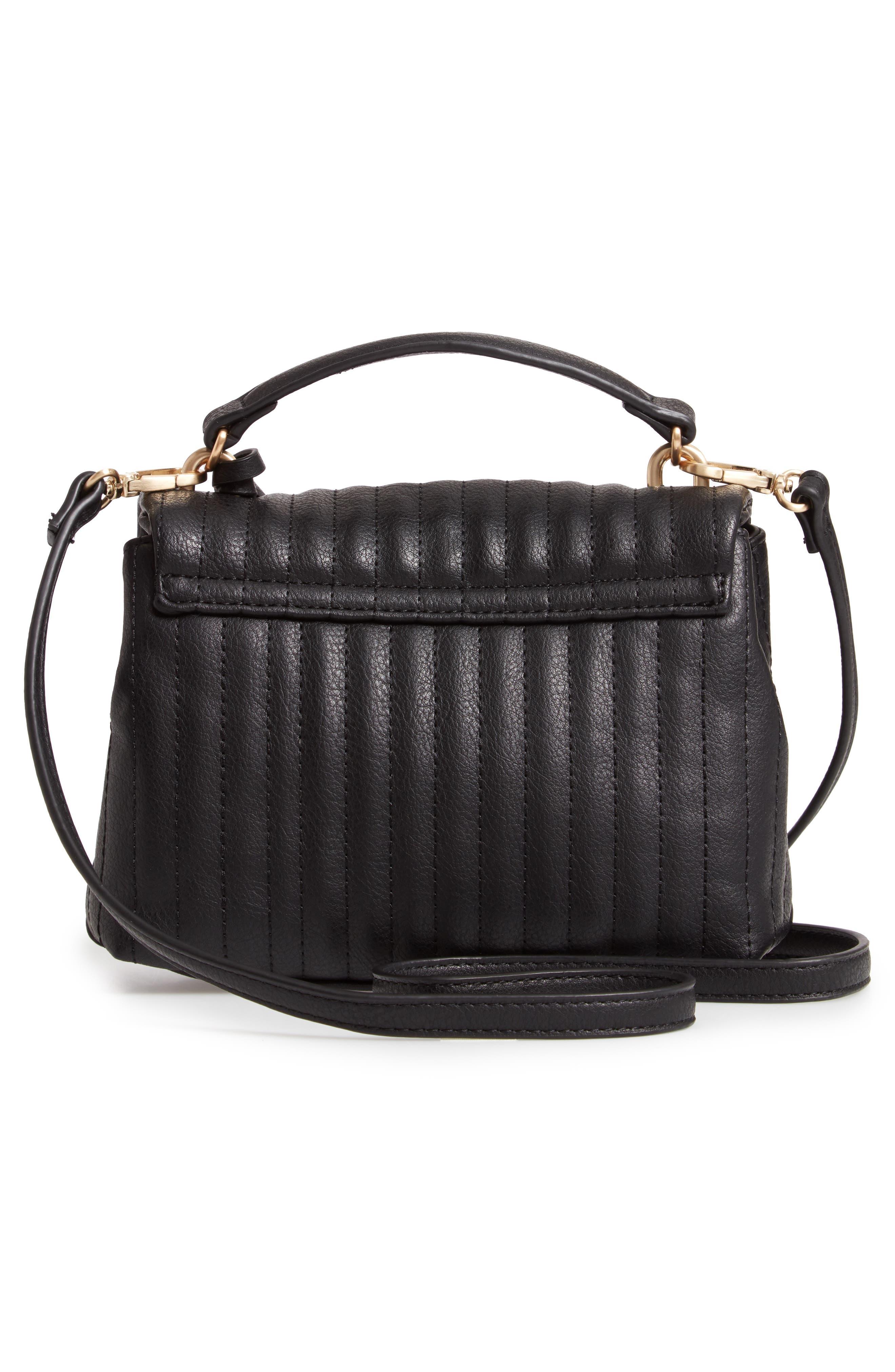 Urche Faux Leather Crossbody Bag,                             Alternate thumbnail 3, color,                             BLACK