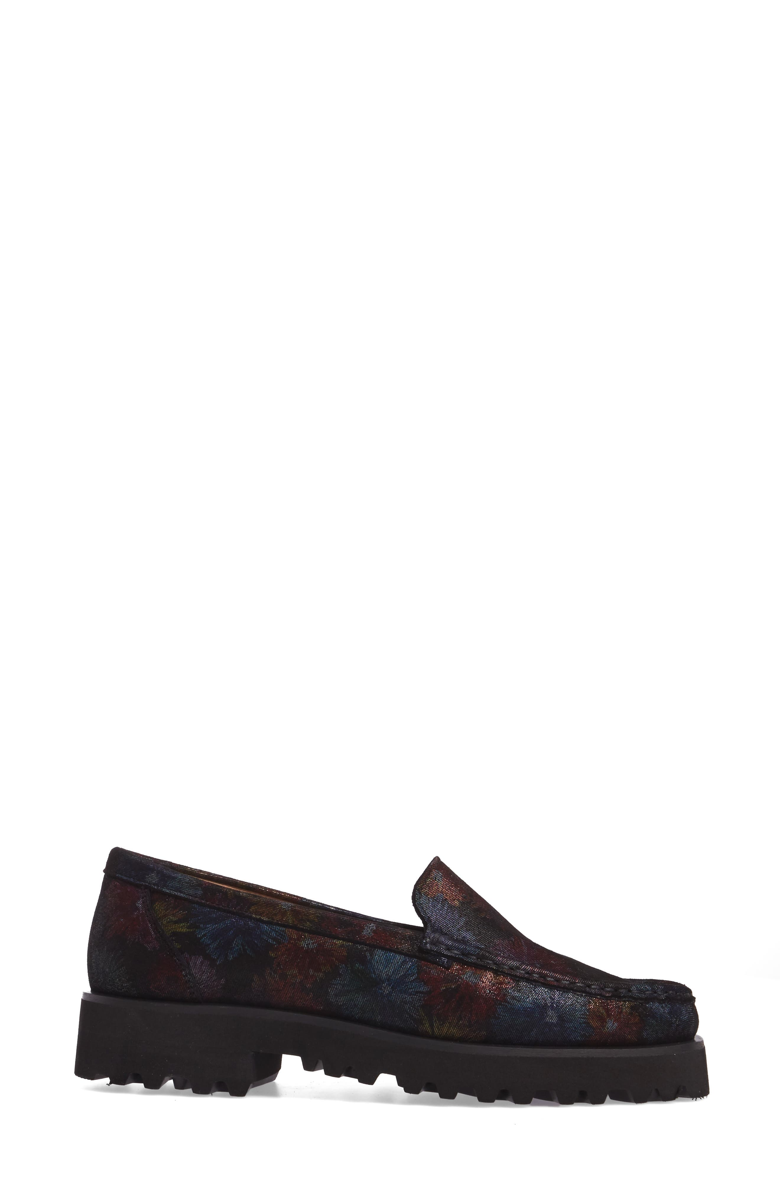 Rita Floral Water Resistant Penny Loafer,                             Alternate thumbnail 3, color,                             400