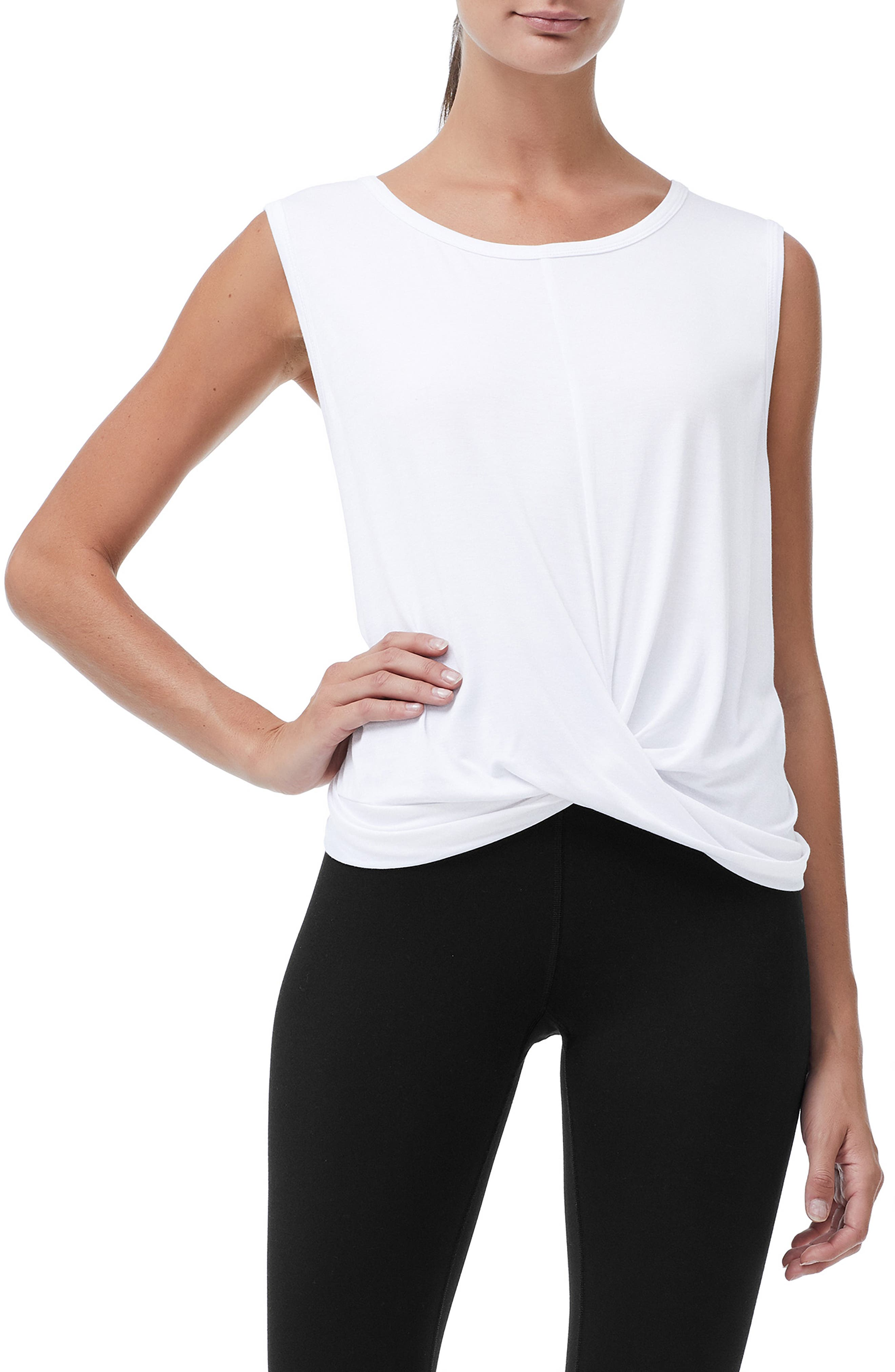Knotted Tank Top,                         Main,                         color, WHITE001