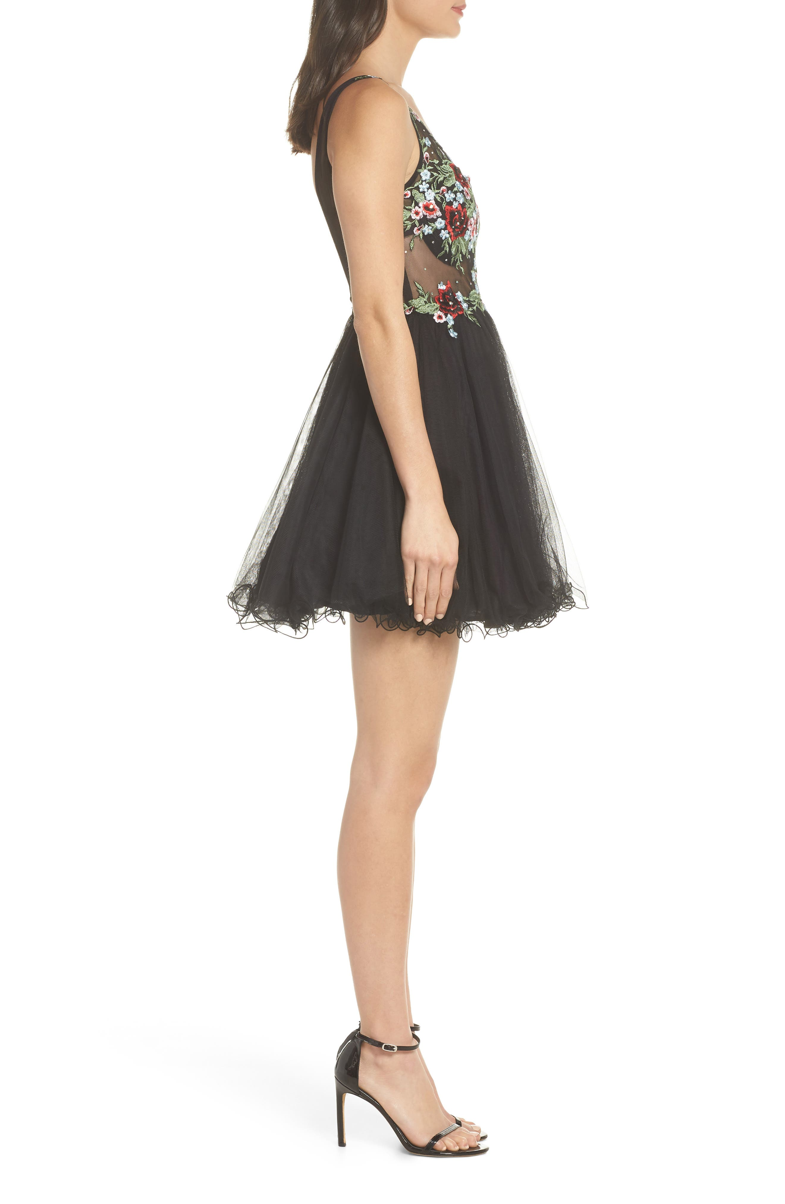 Embroidered Fit & Flare Dress,                             Alternate thumbnail 3, color,                             BLACK/ MULTI