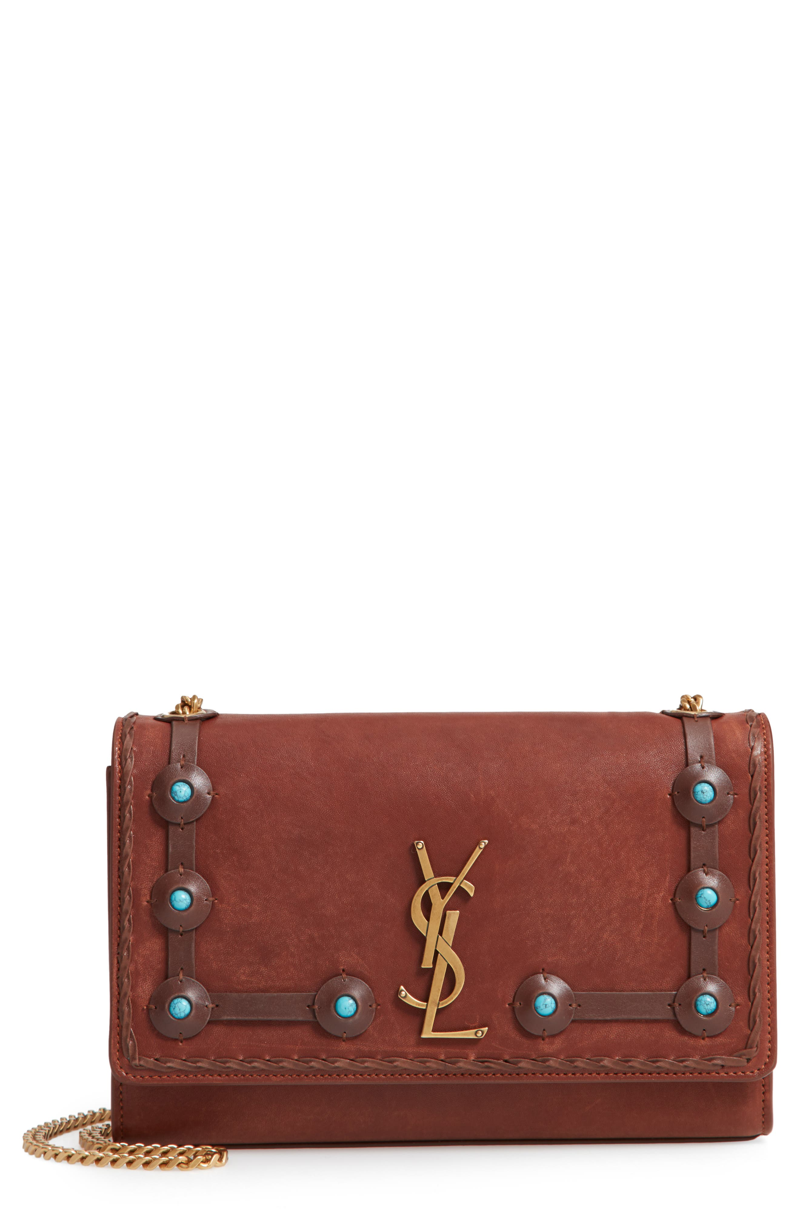 Medium Kate Studded Leather Crossbody Bag,                             Main thumbnail 1, color,                             BROWN MULTI