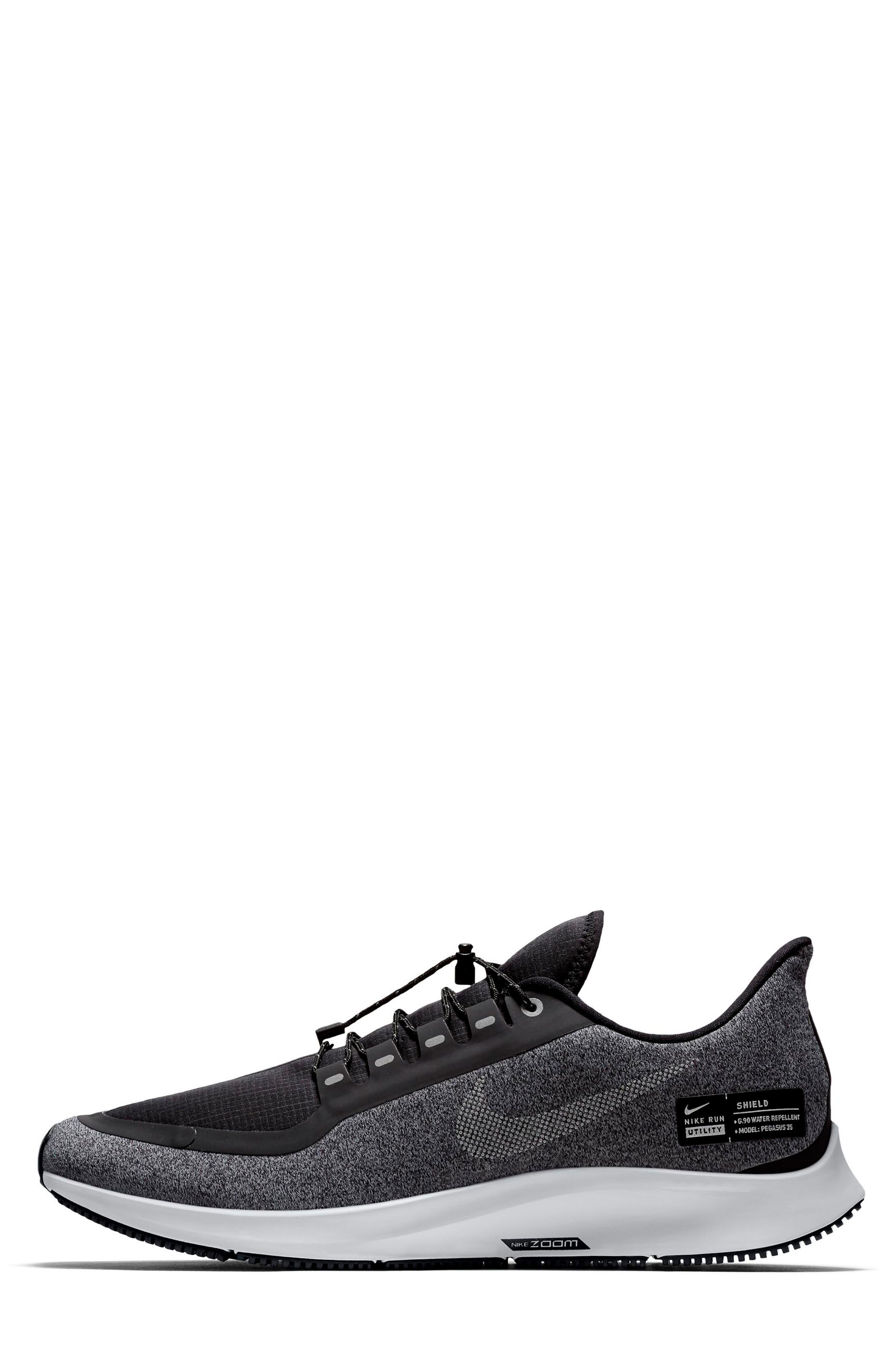 Air Zoom Pegasus 35 Shield Water Repellent Running Shoe,                             Alternate thumbnail 7, color,                             BLACK/ WHITE/ COOL GREY