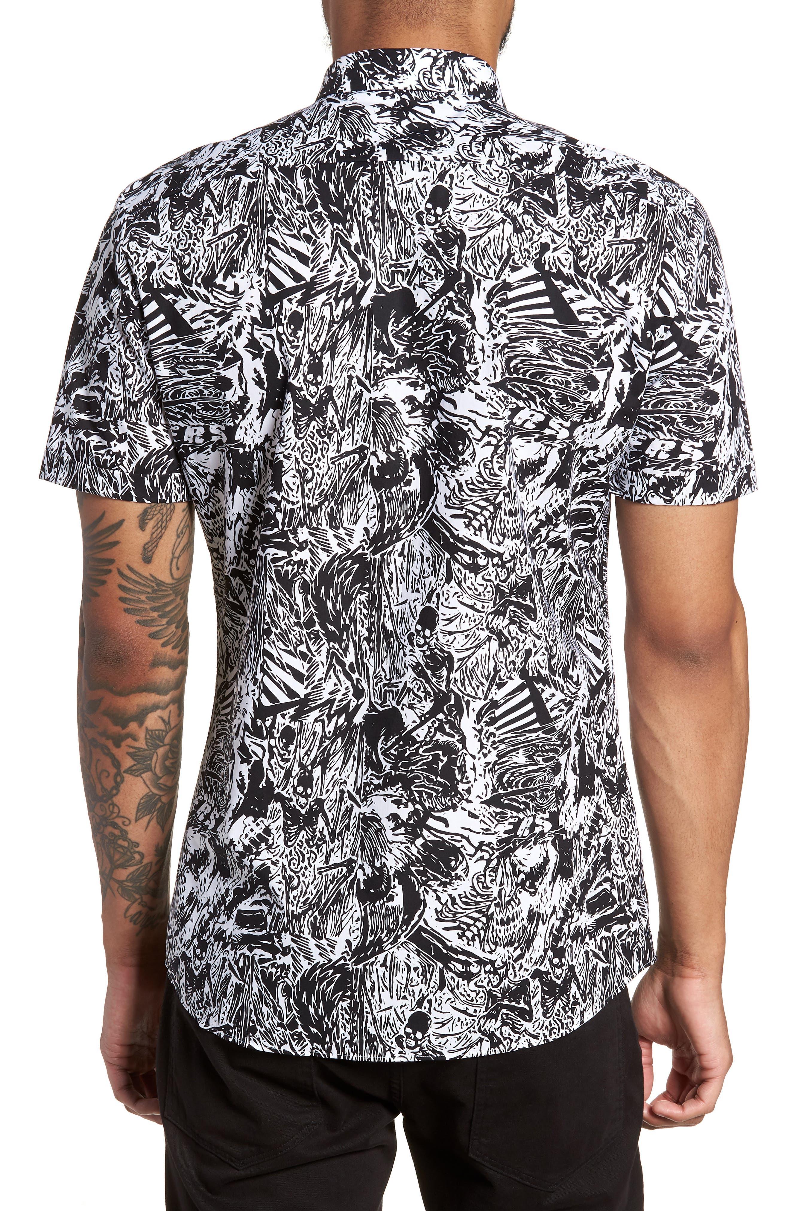 Empson Trim Fit Print Short Sleeve Sport Shirt,                             Alternate thumbnail 3, color,