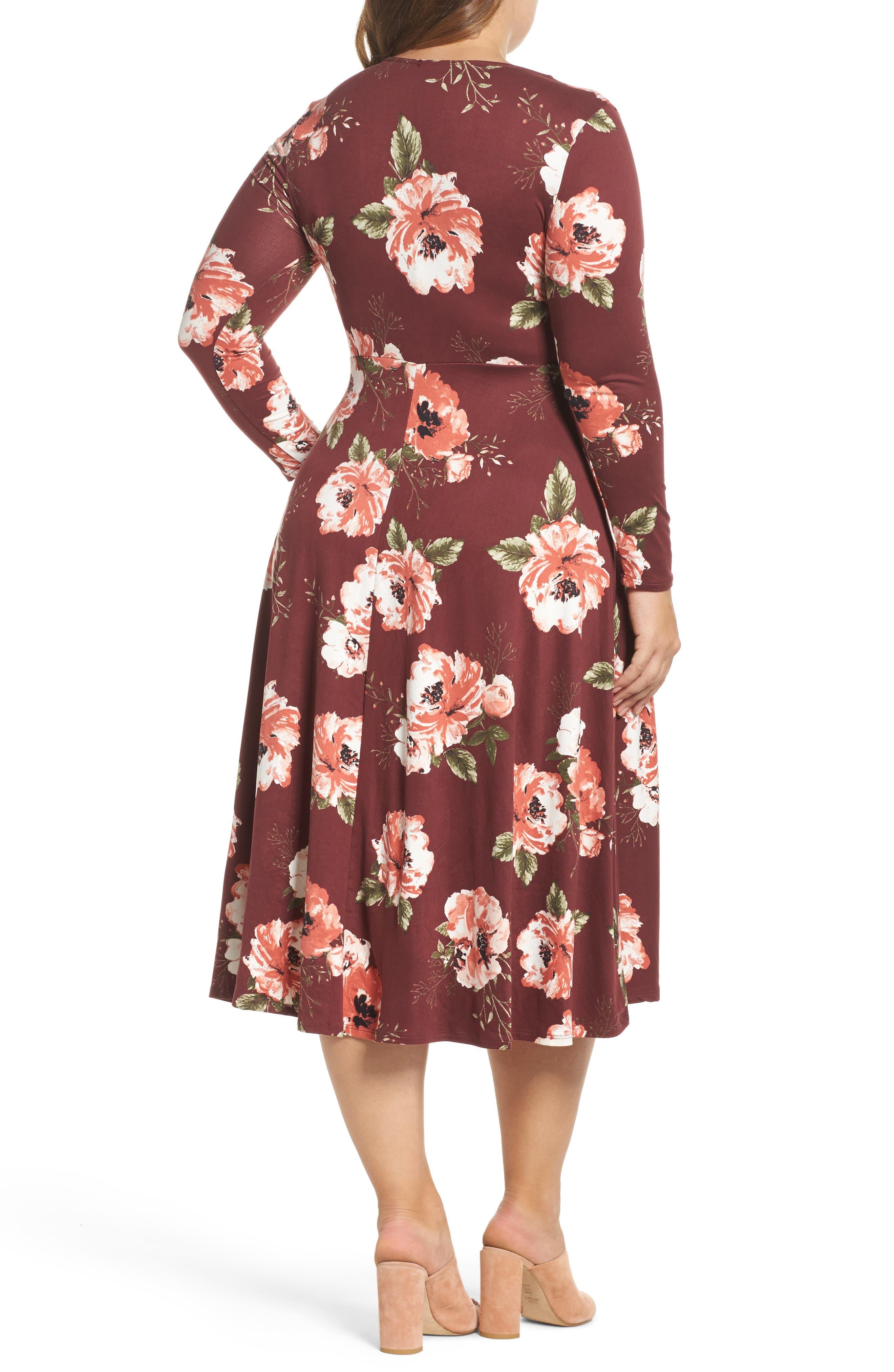 Plunging Floral Midi Dress,                             Alternate thumbnail 4, color,