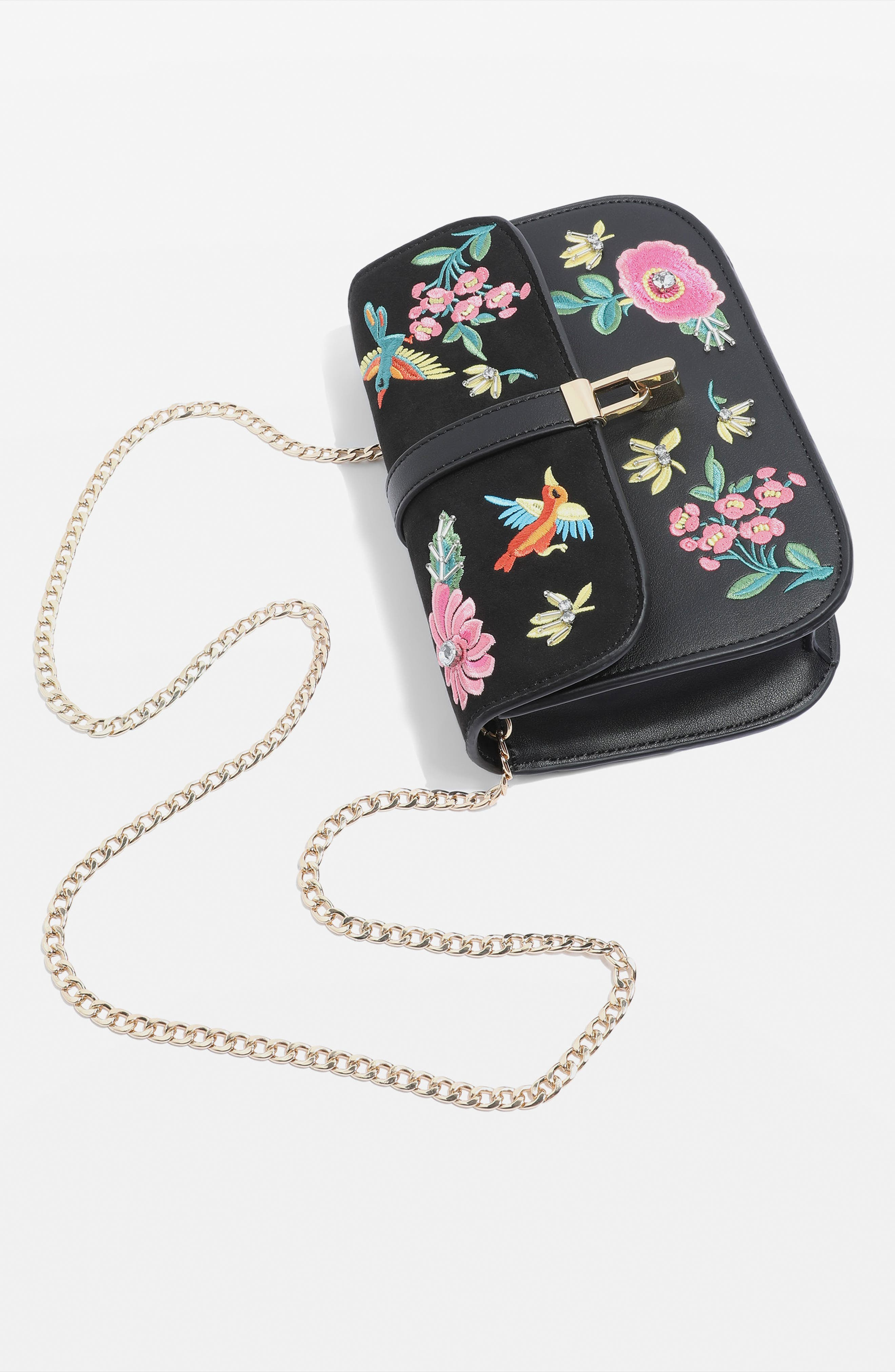 Hummingbird Embroidered Crossbody Bag,                             Alternate thumbnail 4, color,                             001