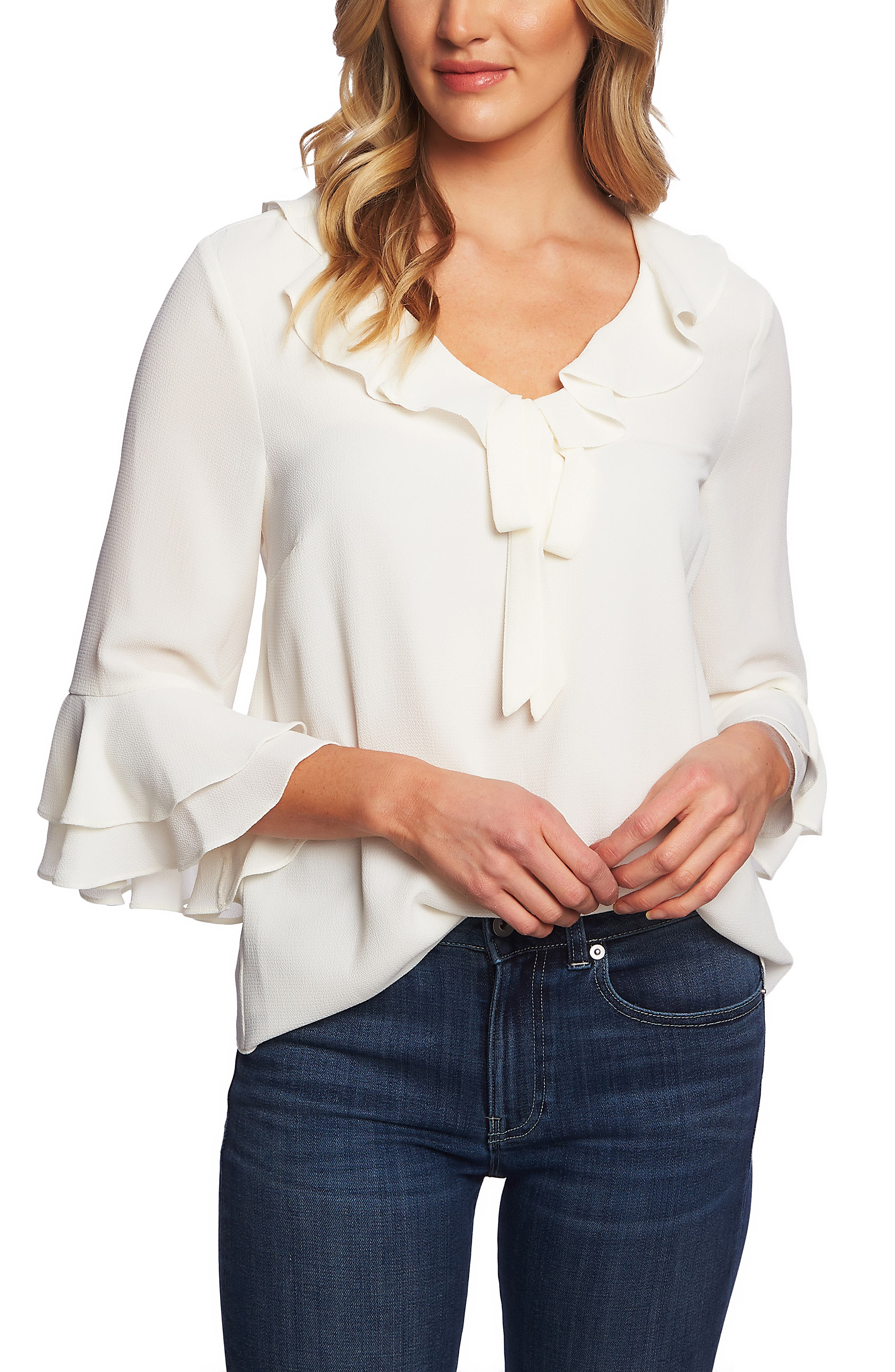 Tiered Sleeve Ruffle Blouse,                             Main thumbnail 1, color,                             ANTIQUE WHITE