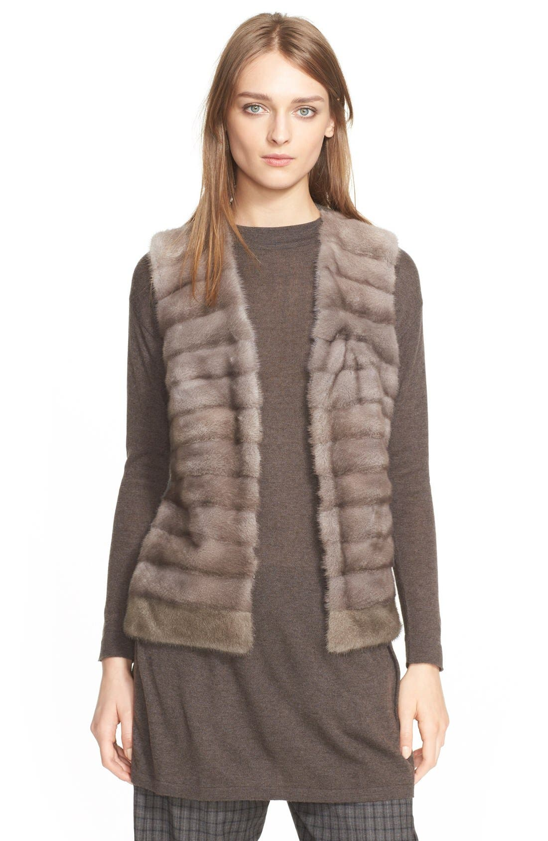 Genuine Mink Fur Vest with Cable Knit Back,                             Main thumbnail 1, color,                             078