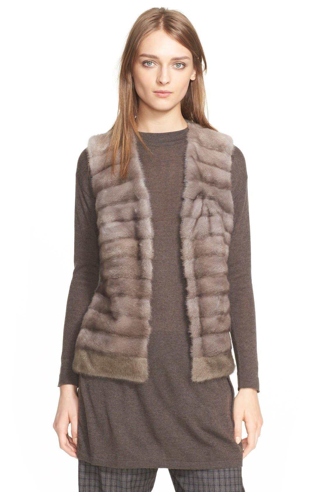 Genuine Mink Fur Vest with Cable Knit Back, Main, color, 078