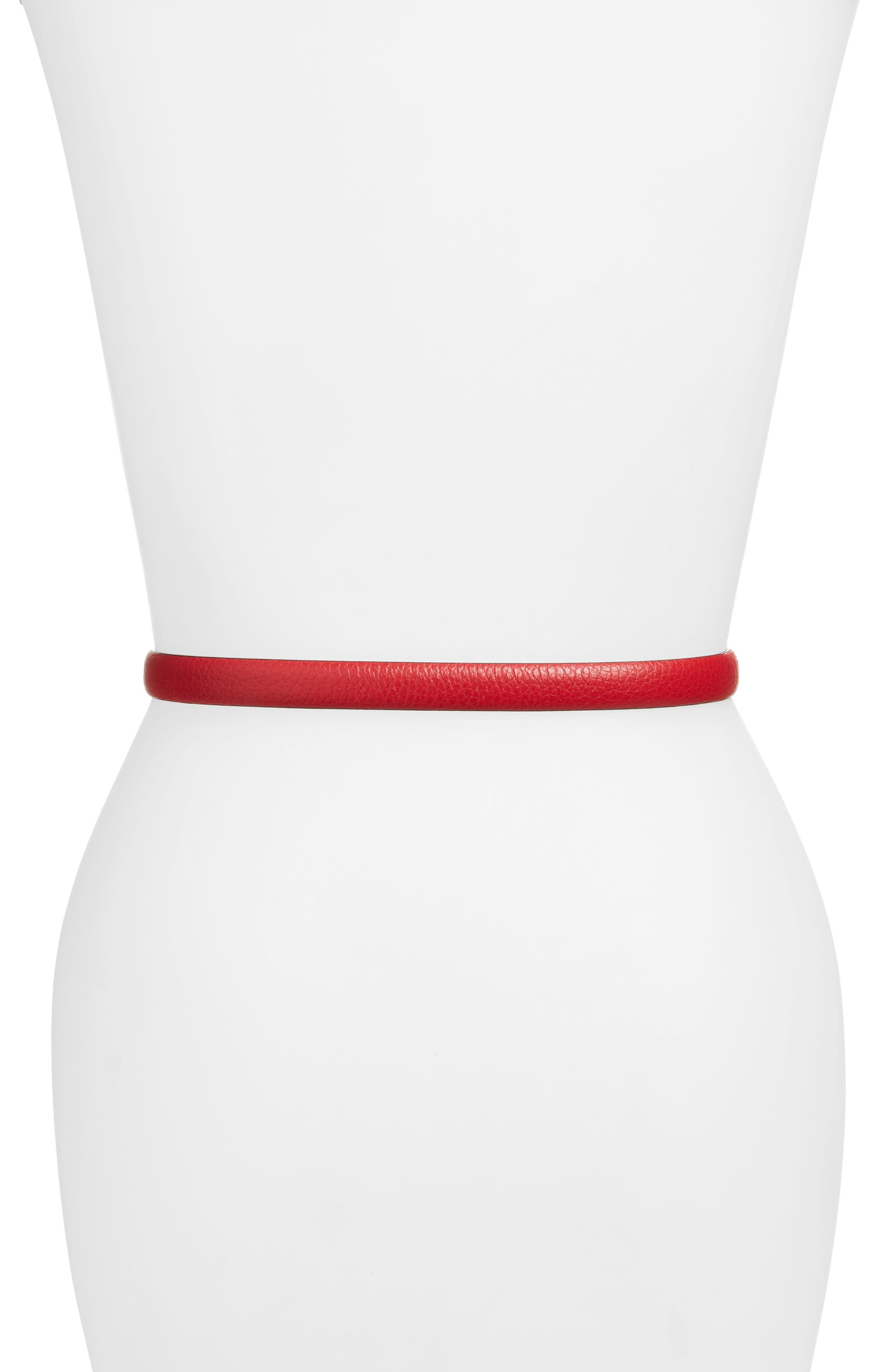 Logo Plate Skinny Leather Belt,                             Alternate thumbnail 12, color,