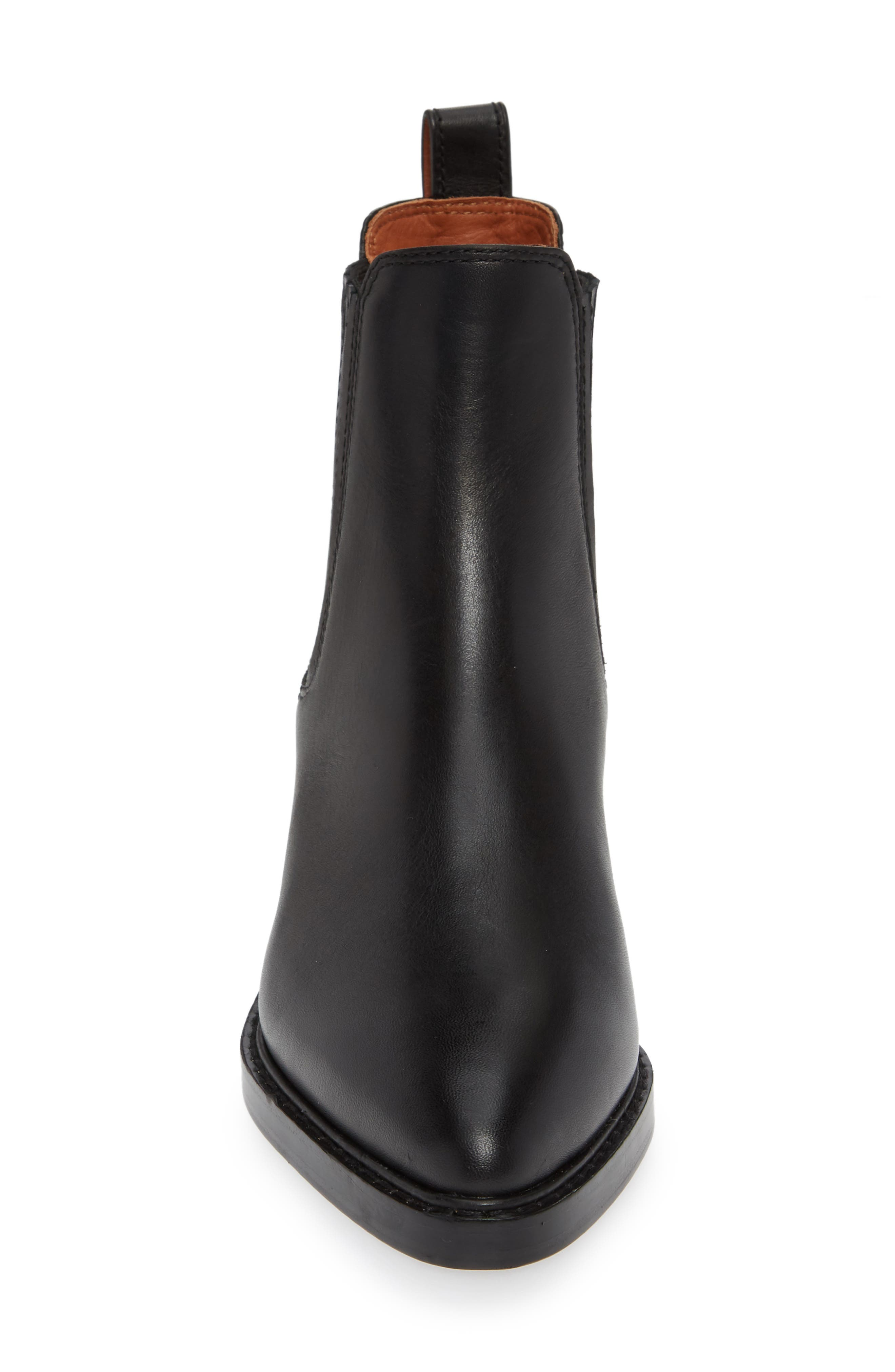 Bowery Chelsea Bootie,                             Alternate thumbnail 4, color,                             BLACK LEATHER