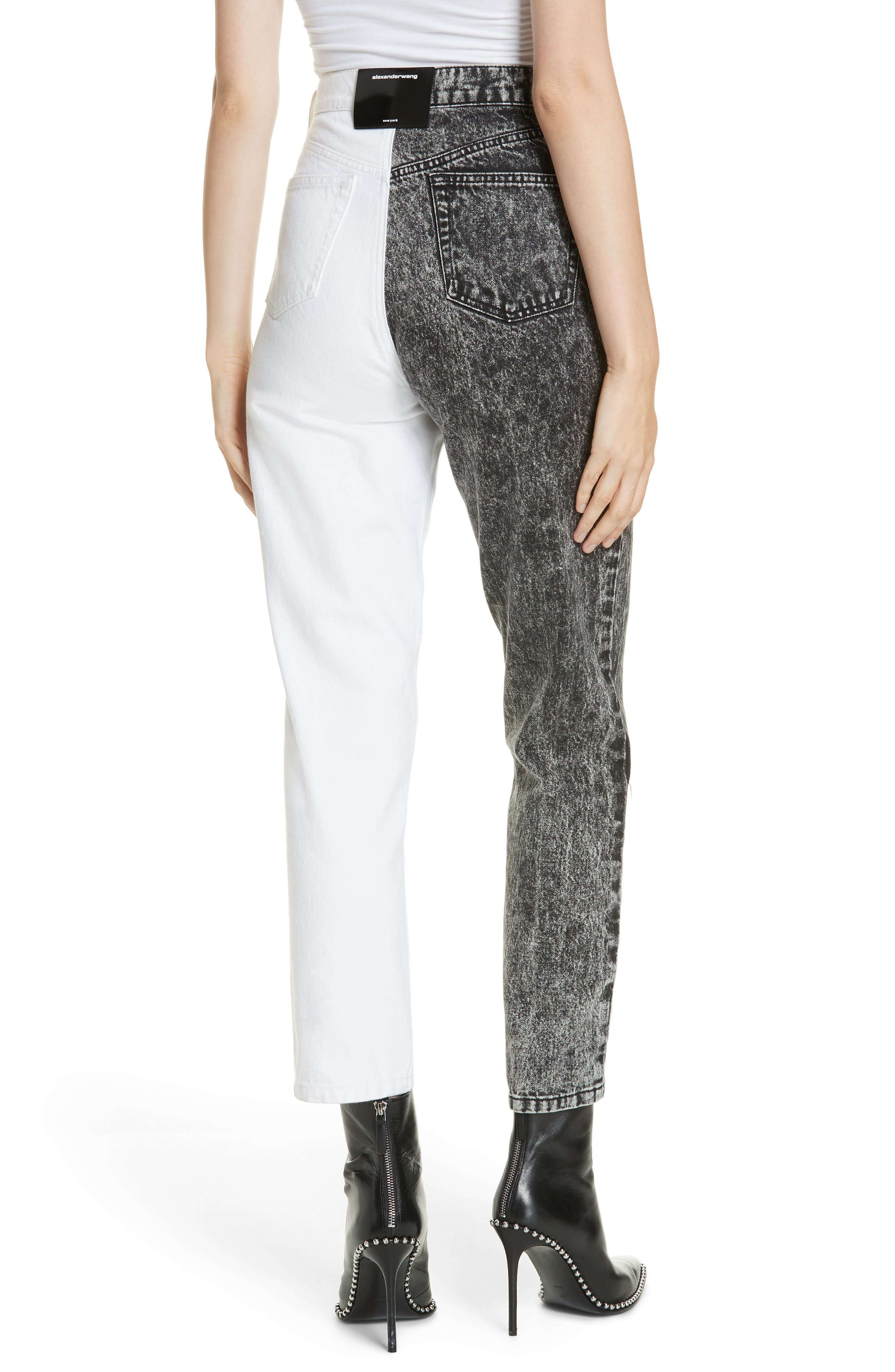 ALEXANDERWANG.T,                             Bluff Classic Bicolor Crop Jeans,                             Alternate thumbnail 2, color,                             MARBLED DARK GREY/ IVORY