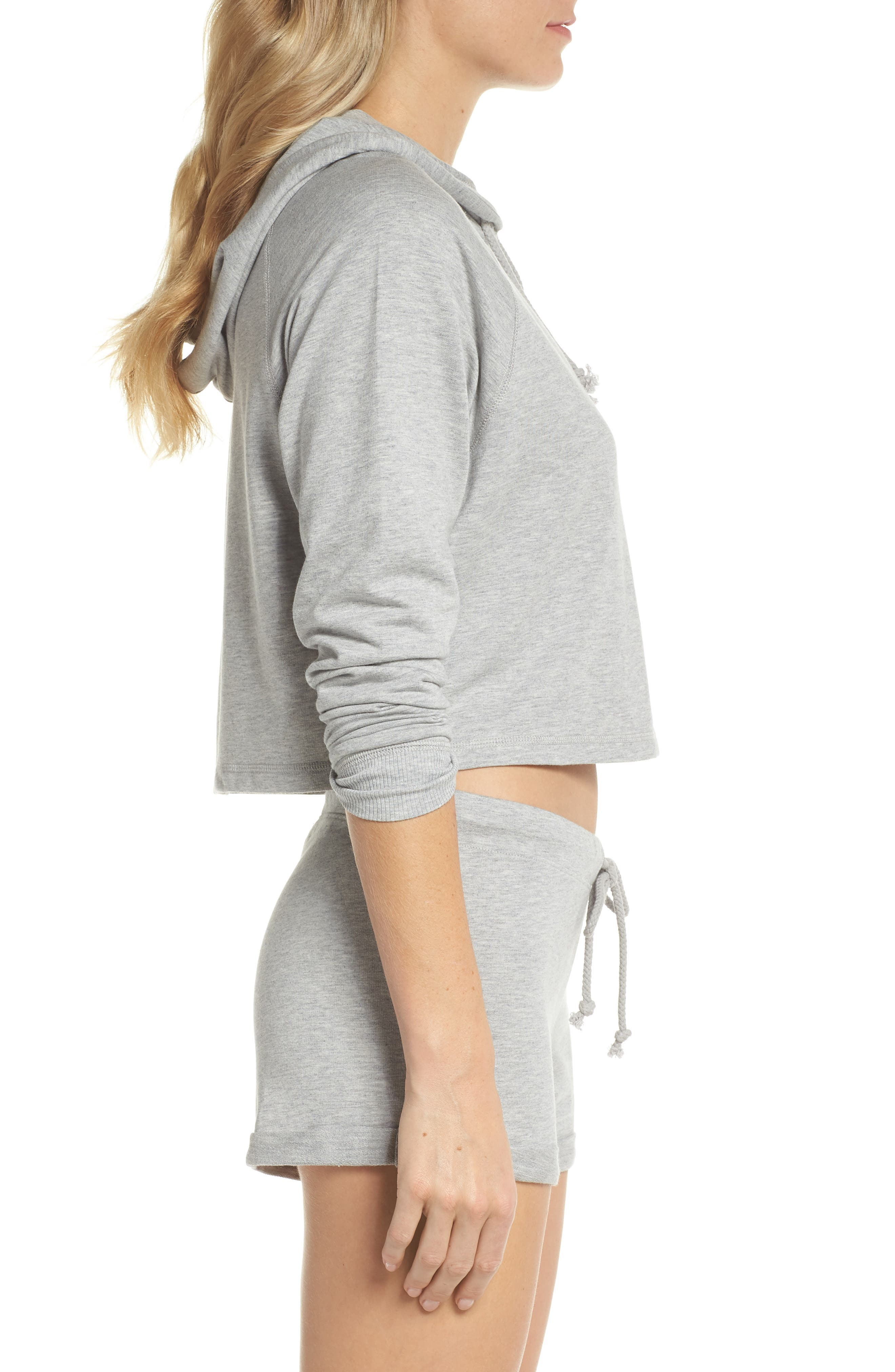 French Terry Crop Hoodie,                             Alternate thumbnail 6, color,