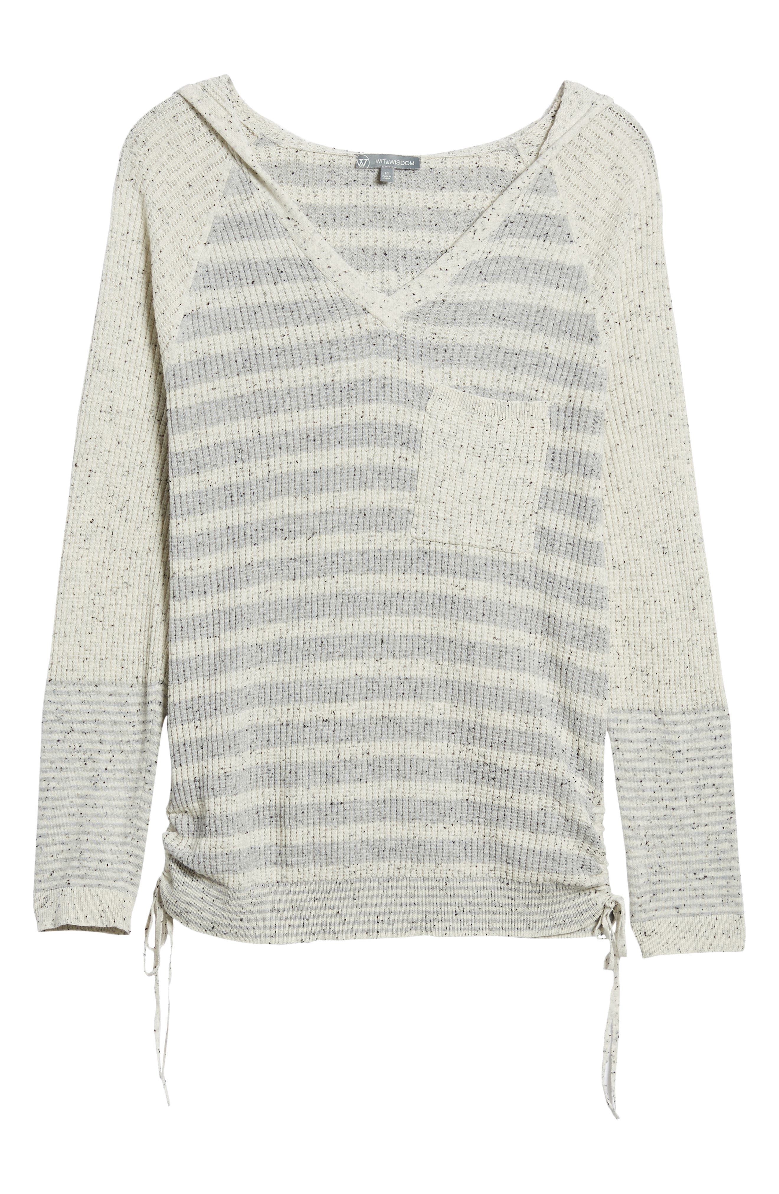 Waffle Knit Stripe Hooded Top,                             Alternate thumbnail 6, color,                             HEATHER GREY/ OFF WHITE