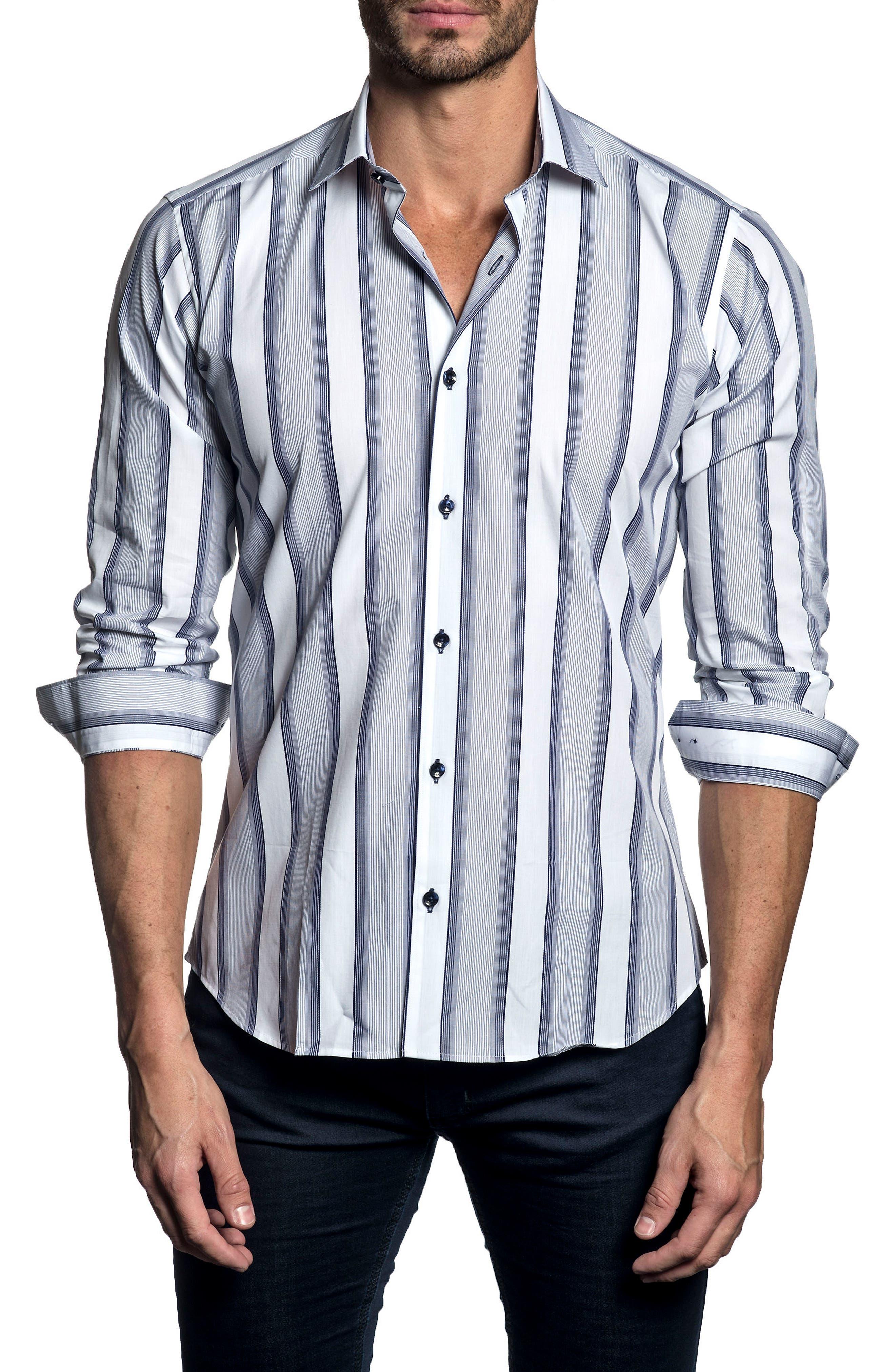 Trim Fit Vertical Stripe Sport Shirt,                         Main,                         color,