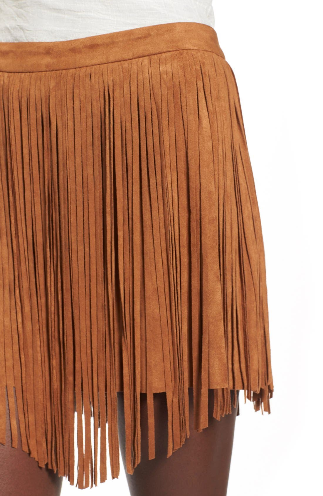 Fringe FauxSuede Skirt,                             Alternate thumbnail 4, color,