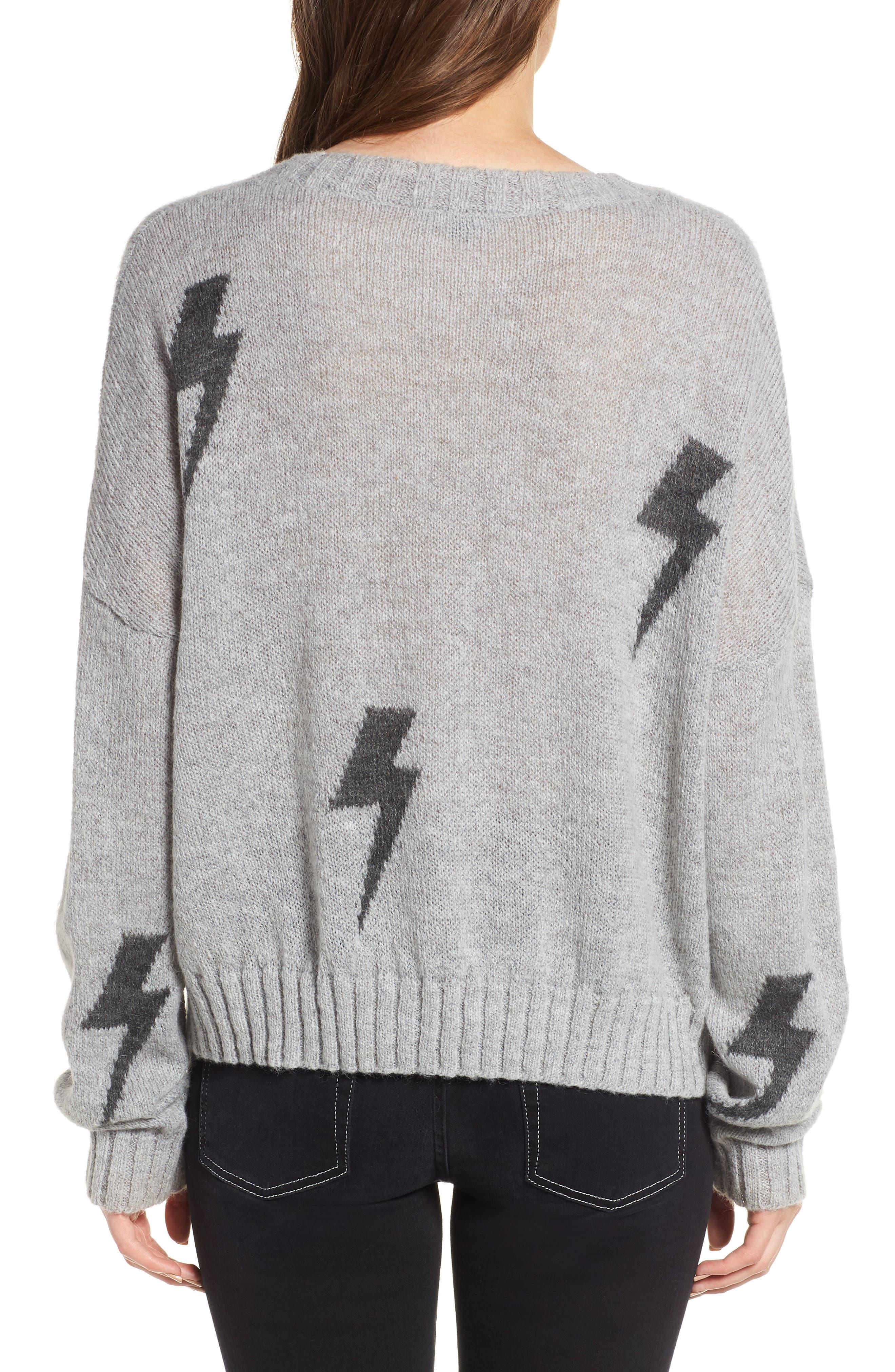 Perci Sweater,                             Alternate thumbnail 3, color,                             GREY/CHARCOAL LIGHTNING