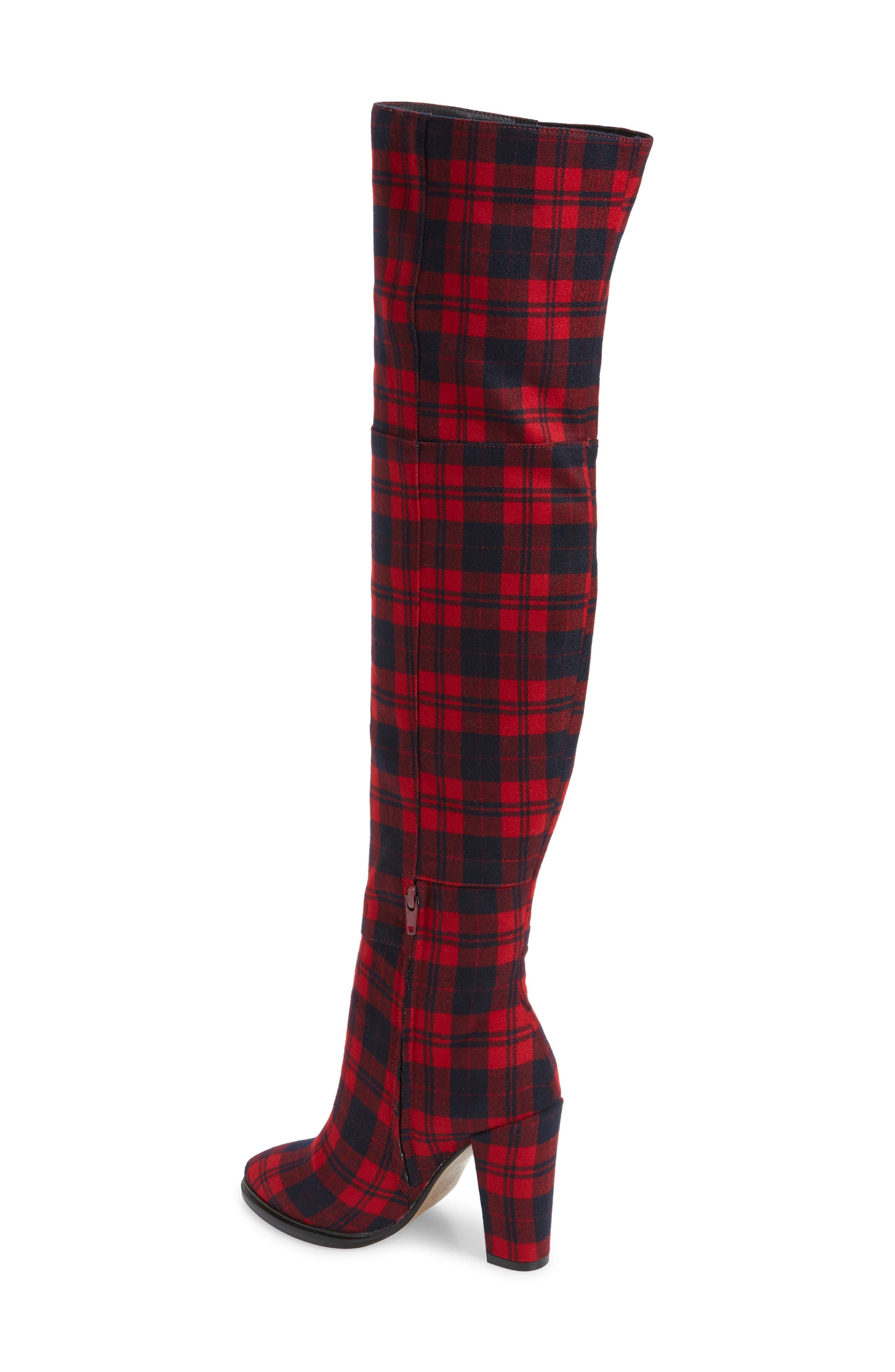 Alla Over the Knee Boot,                             Alternate thumbnail 2, color,                             RED TARTAN