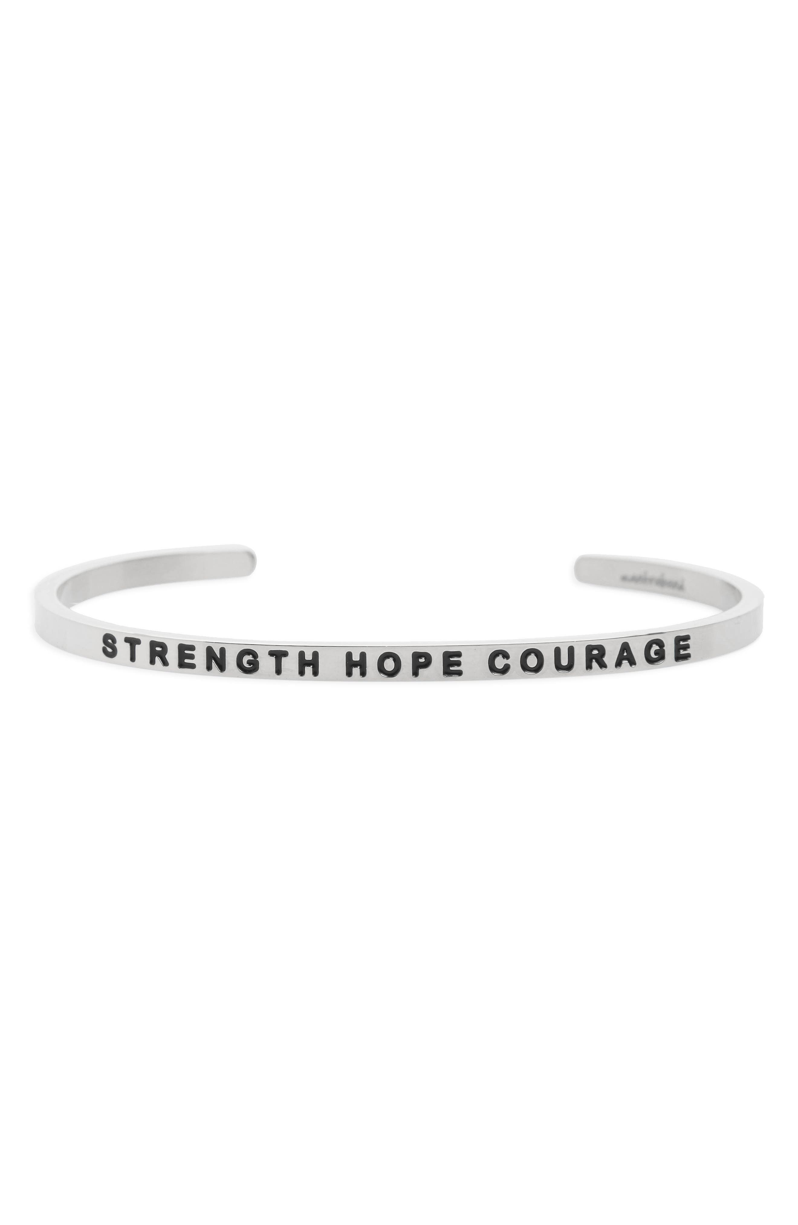 Strength Hope Courage Engraved Cuff,                             Main thumbnail 1, color,                             040