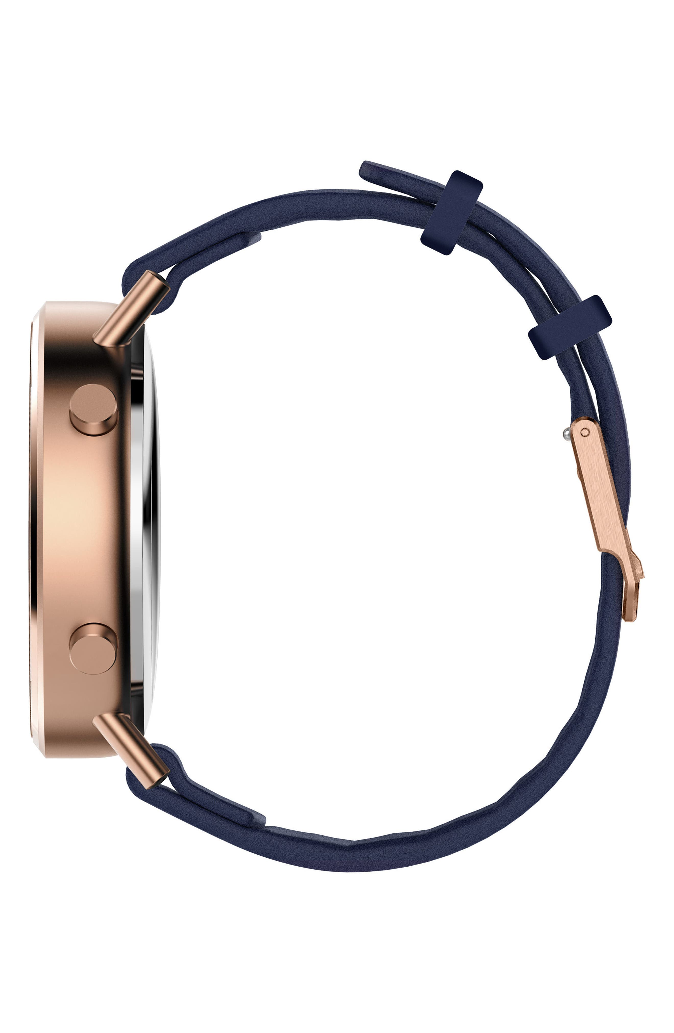 Command Hybrid Silicone Strap Smart Watch, 44mm,                             Alternate thumbnail 3, color,                             NAVY/ ROSE GOLD