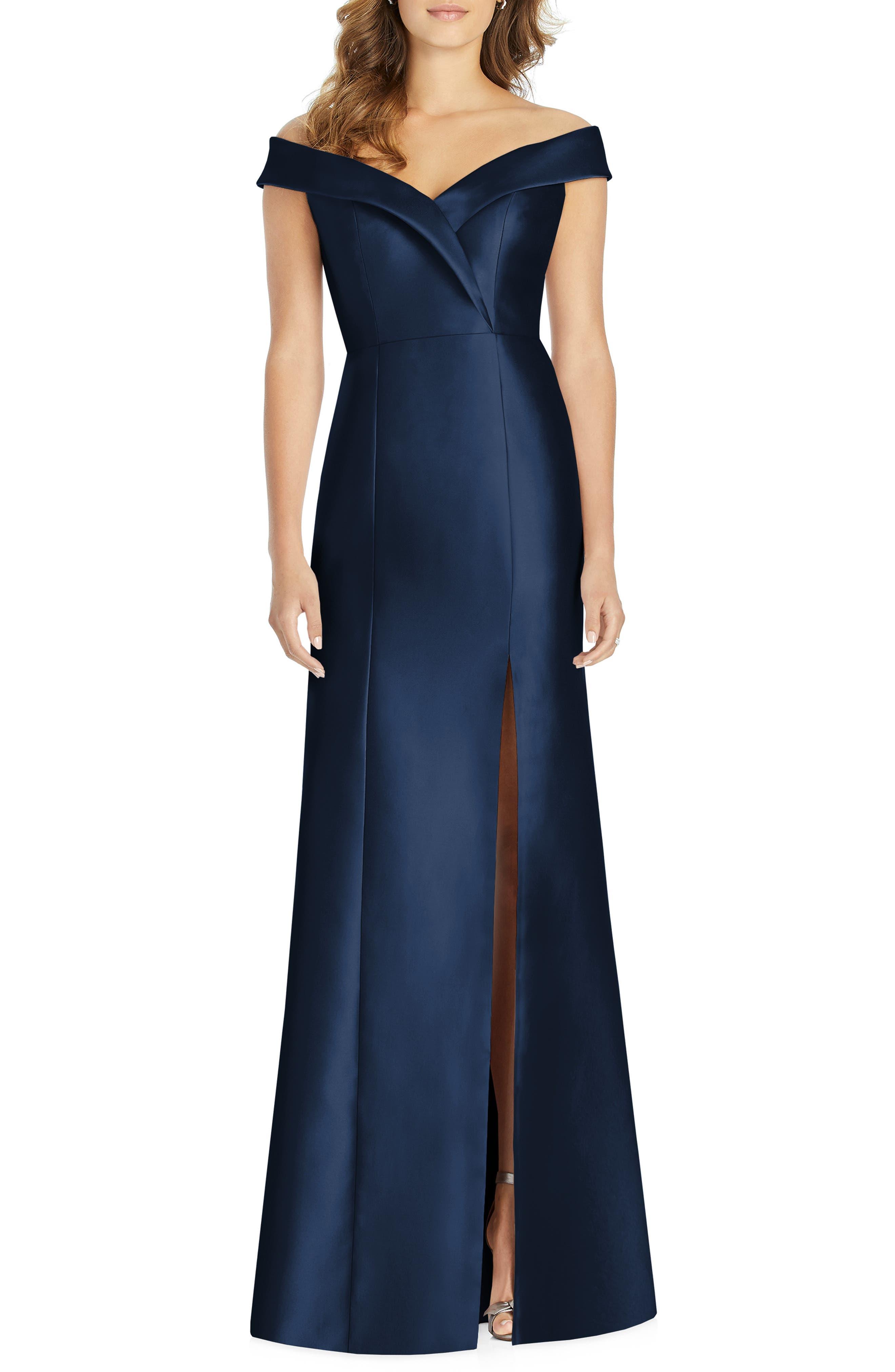 Alfred Sung Portrait Collar Satin Gown, Blue