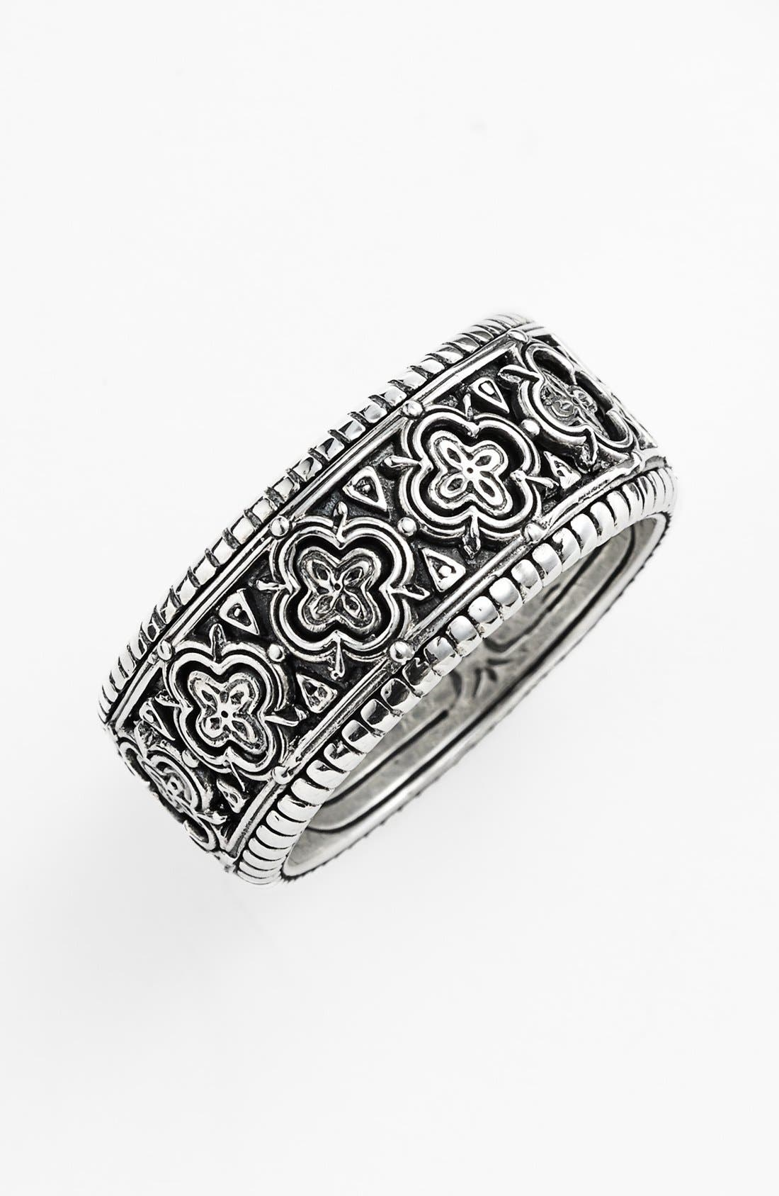 'Classics' Clover Etched Ring,                             Main thumbnail 1, color,                             SILVER