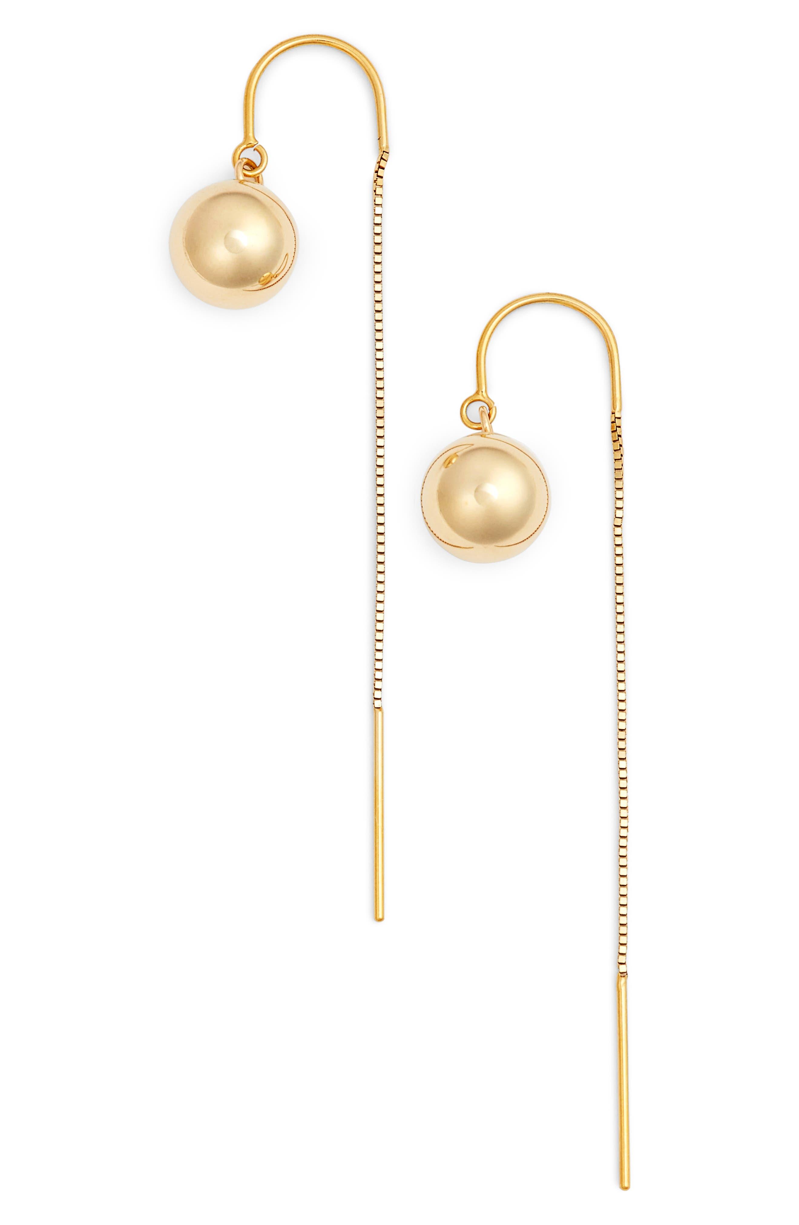 Gold Ball Threader Earrings,                             Main thumbnail 1, color,                             710