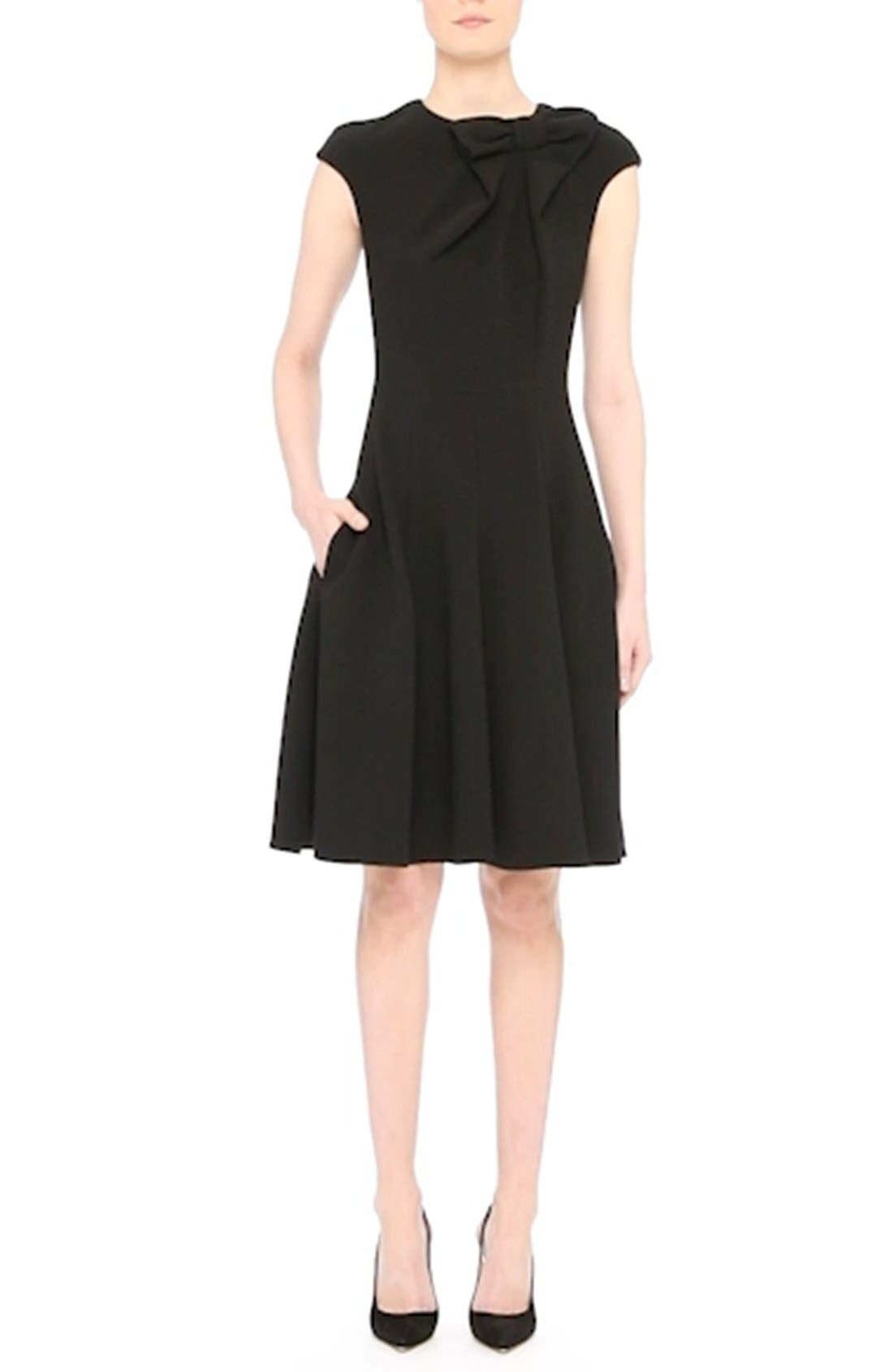 Bow Detail Fit & Flare Dress,                             Alternate thumbnail 7, color,                             001
