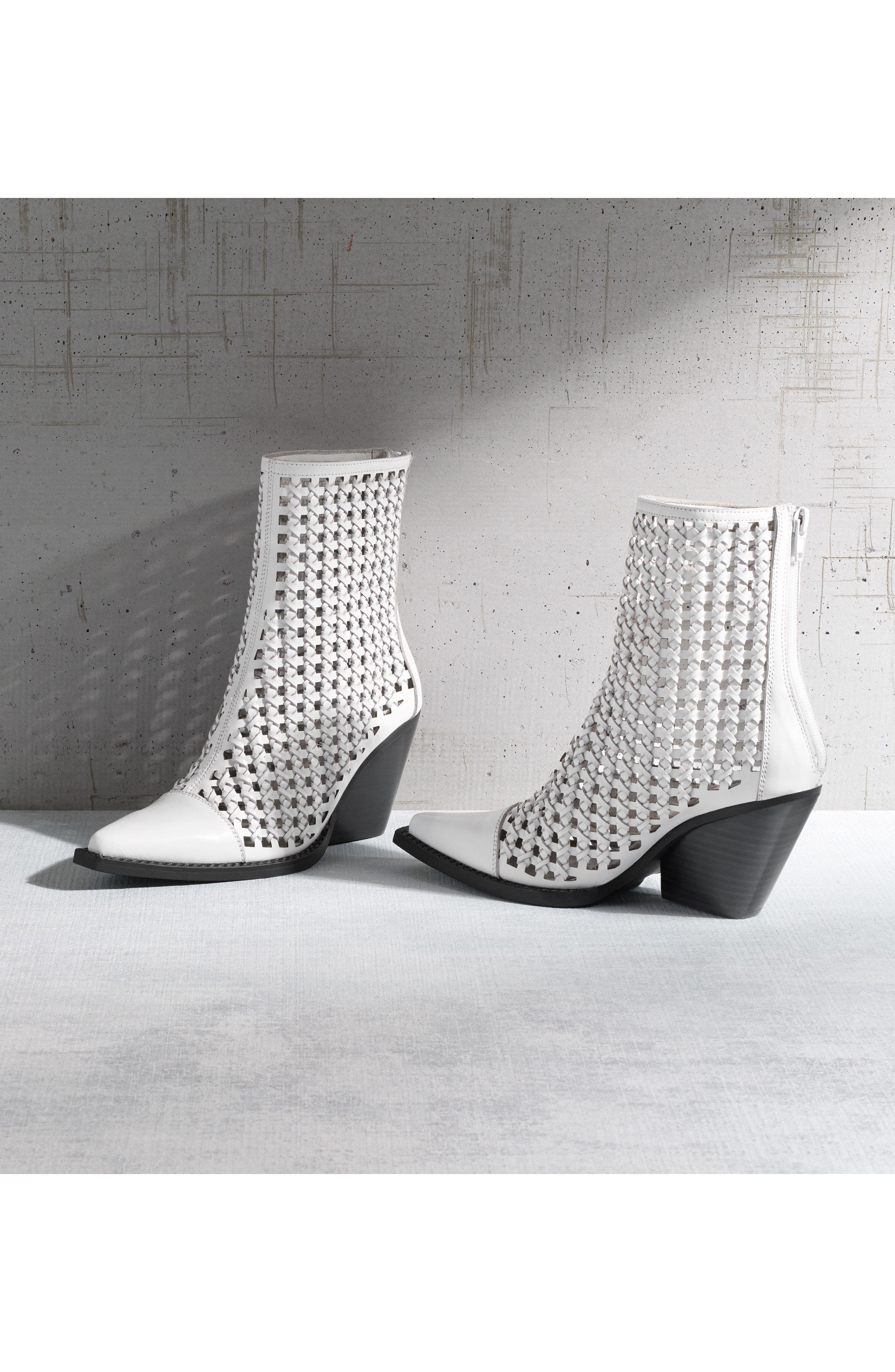 Waven Woven Bootie,                             Alternate thumbnail 8, color,                             WHITE LEATHER