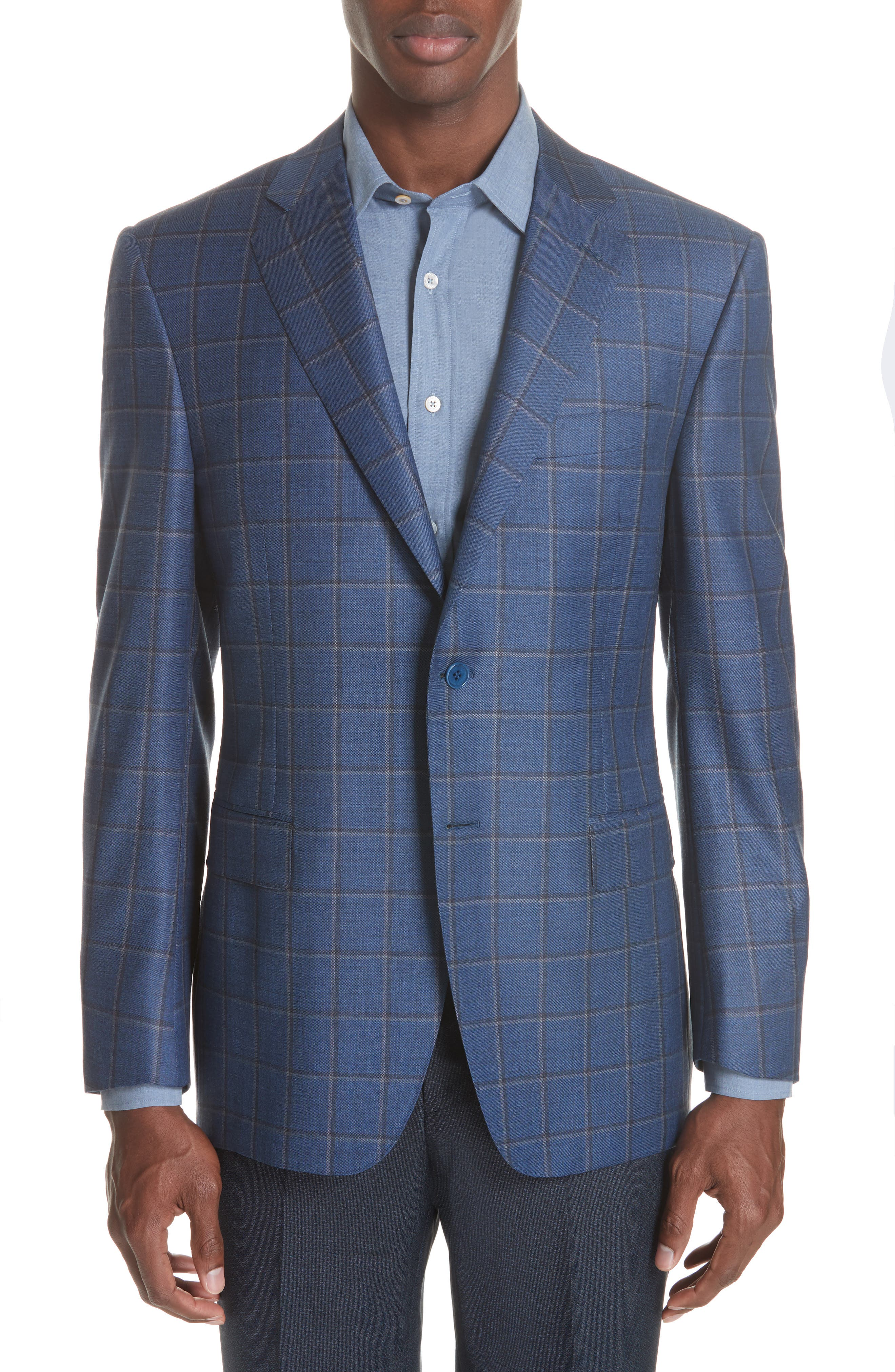 Classic Fit Windowpane Wool Sport Coat,                             Main thumbnail 1, color,                             BLUE