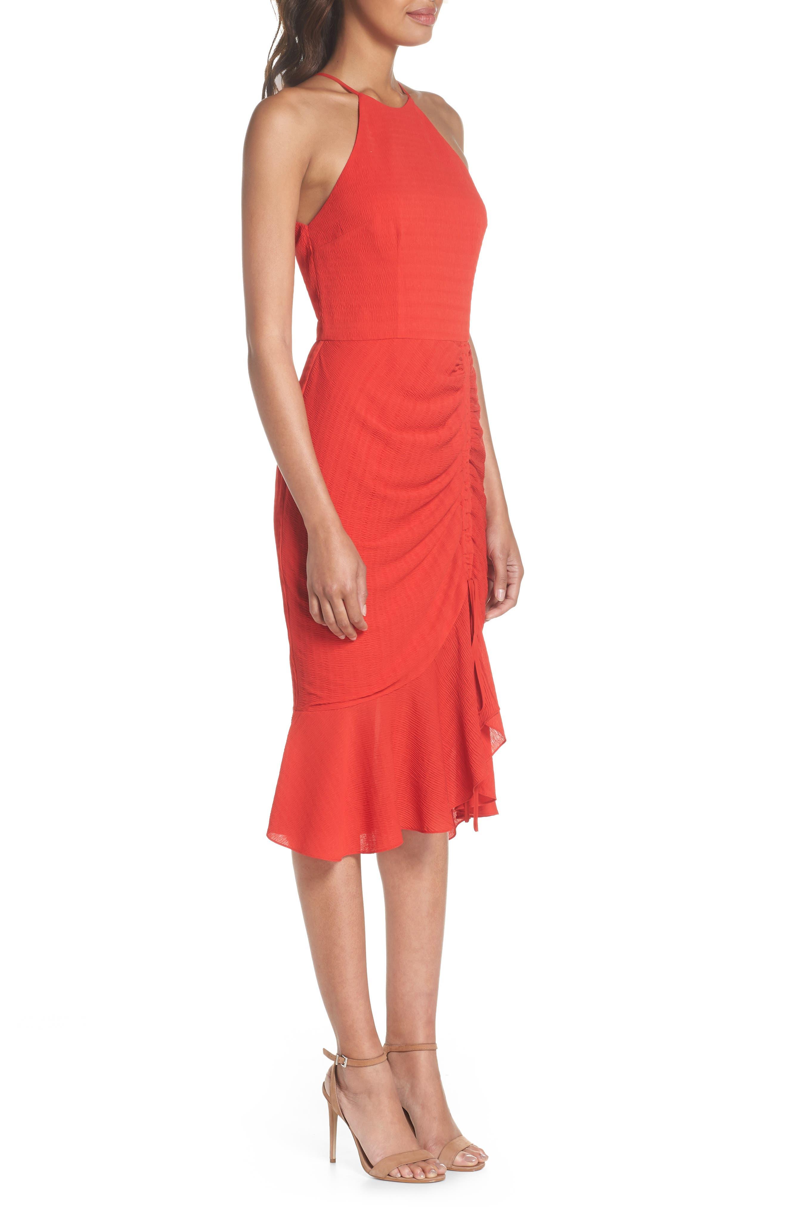 Ti Amo Ruched Halter Dress,                             Alternate thumbnail 3, color,                             620