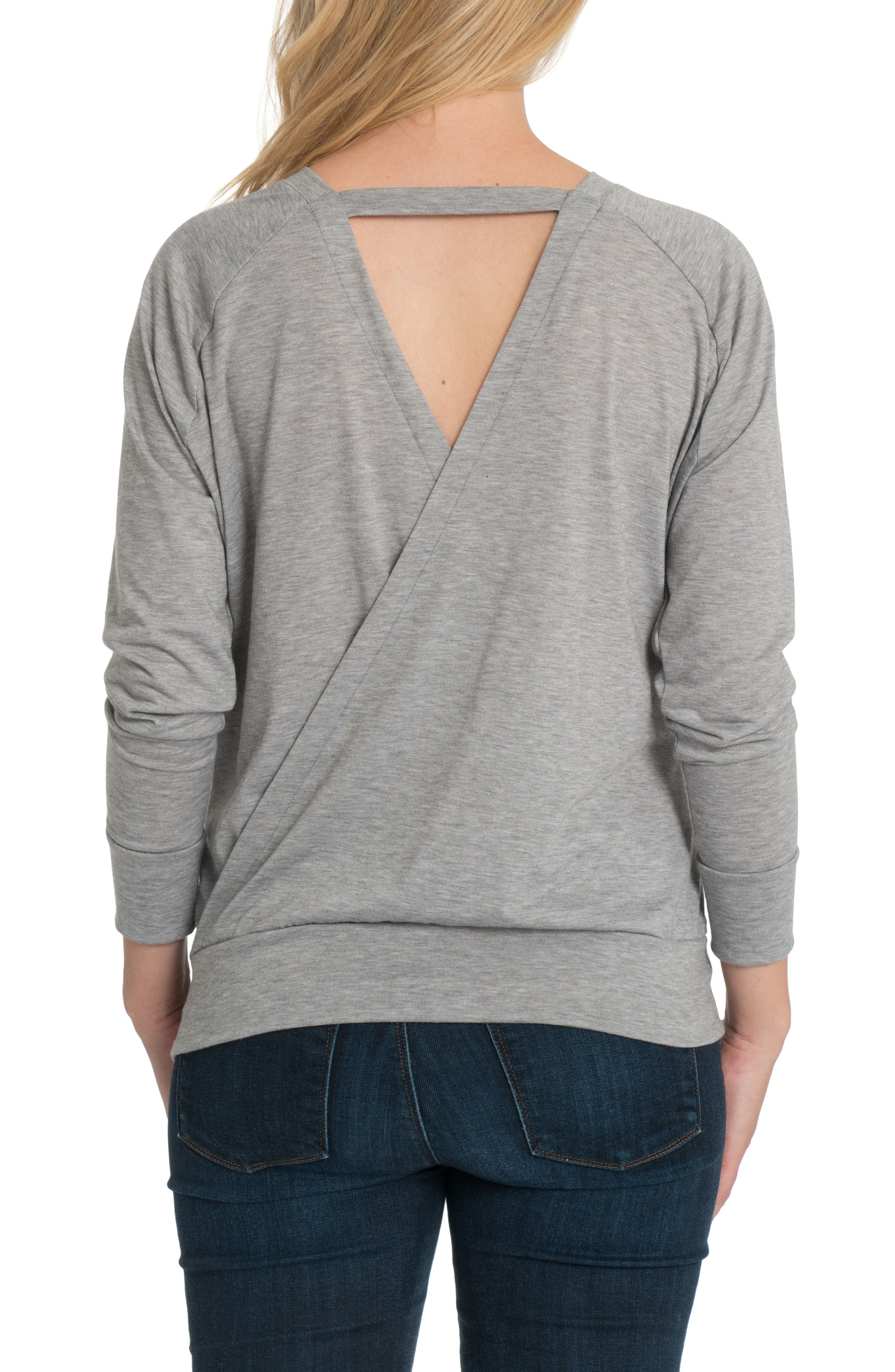 Blissful Cross Back Maternity/Nursing Pullover,                             Alternate thumbnail 3, color,                             HEATHER GRAY