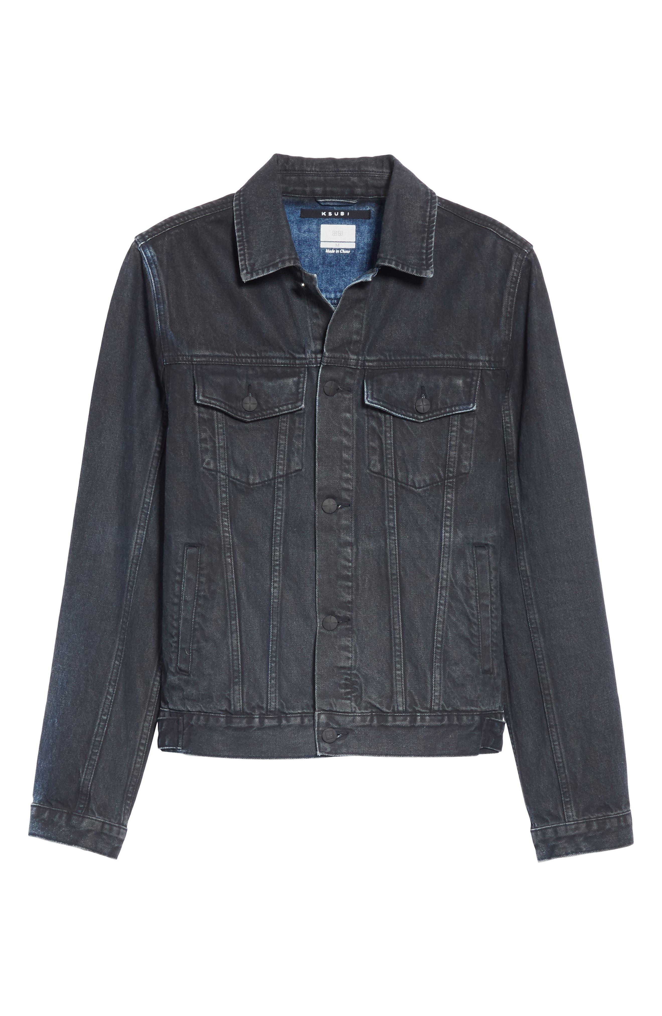 KSUBI,                             Classic Denim Jacket,                             Alternate thumbnail 5, color,                             BLACK TOP