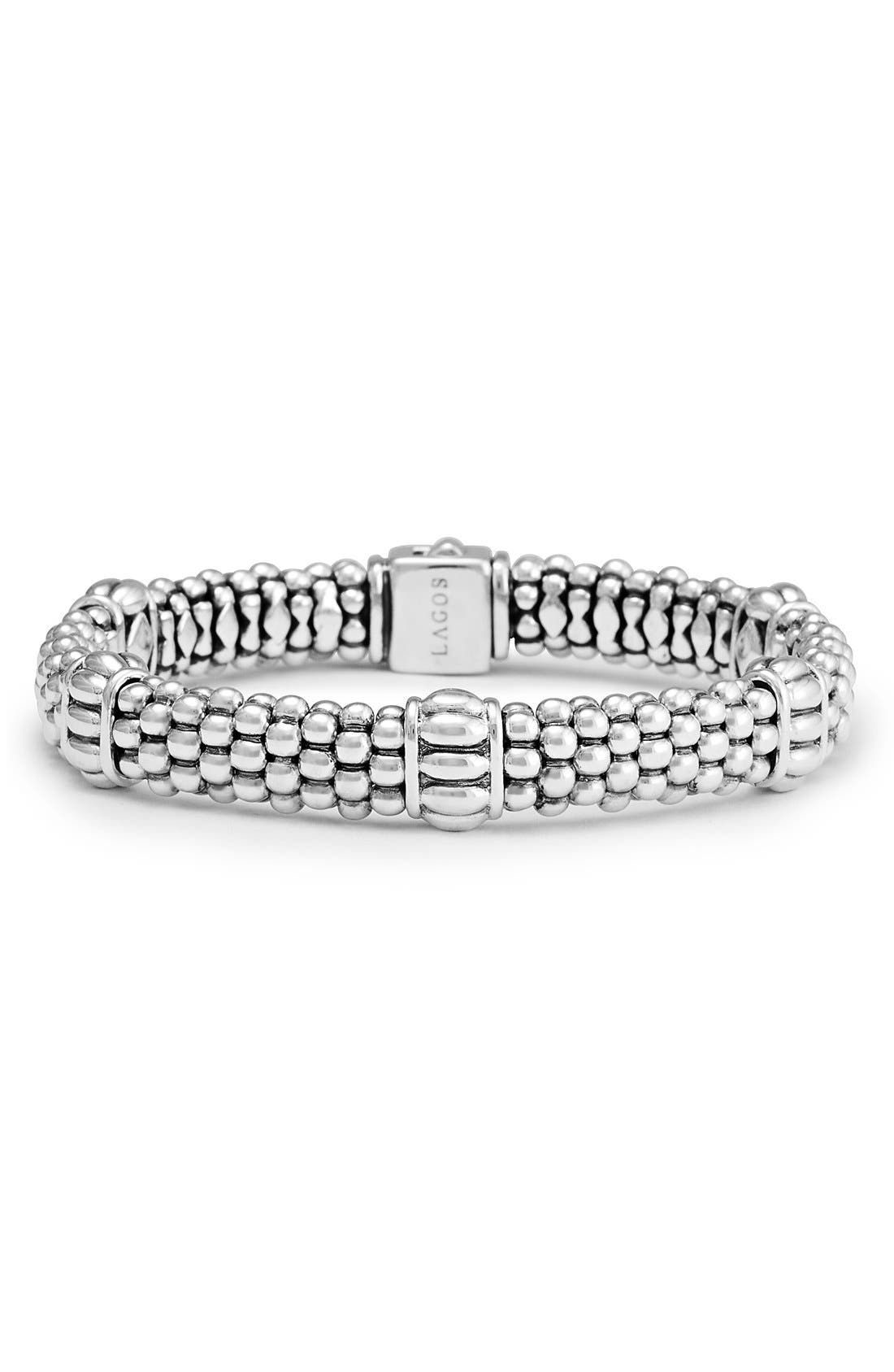Fluted Station Caviar Rope Bracelet,                             Main thumbnail 1, color,                             SILVER