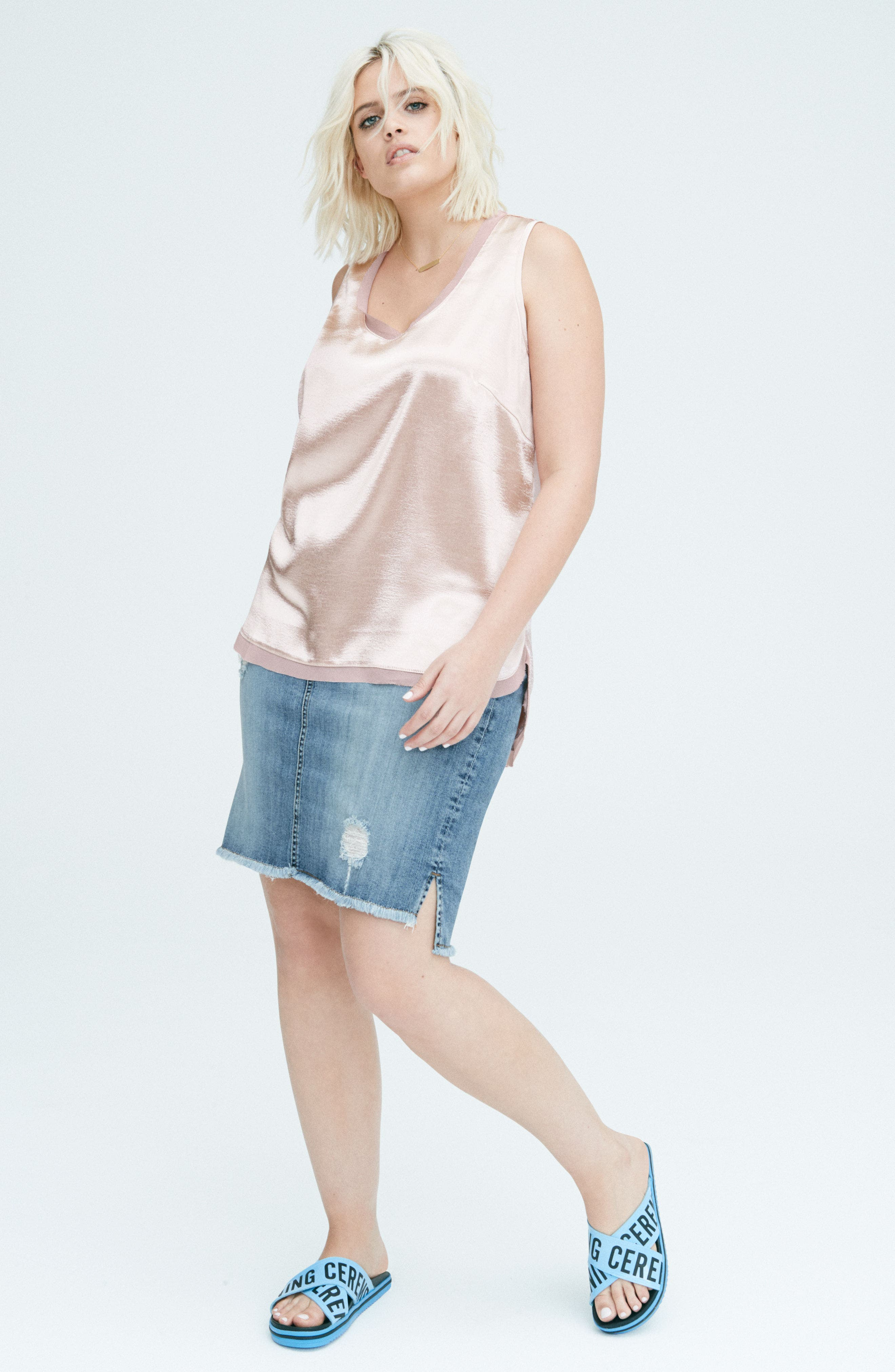 Hammered Satin Tank,                             Alternate thumbnail 5, color,                             070