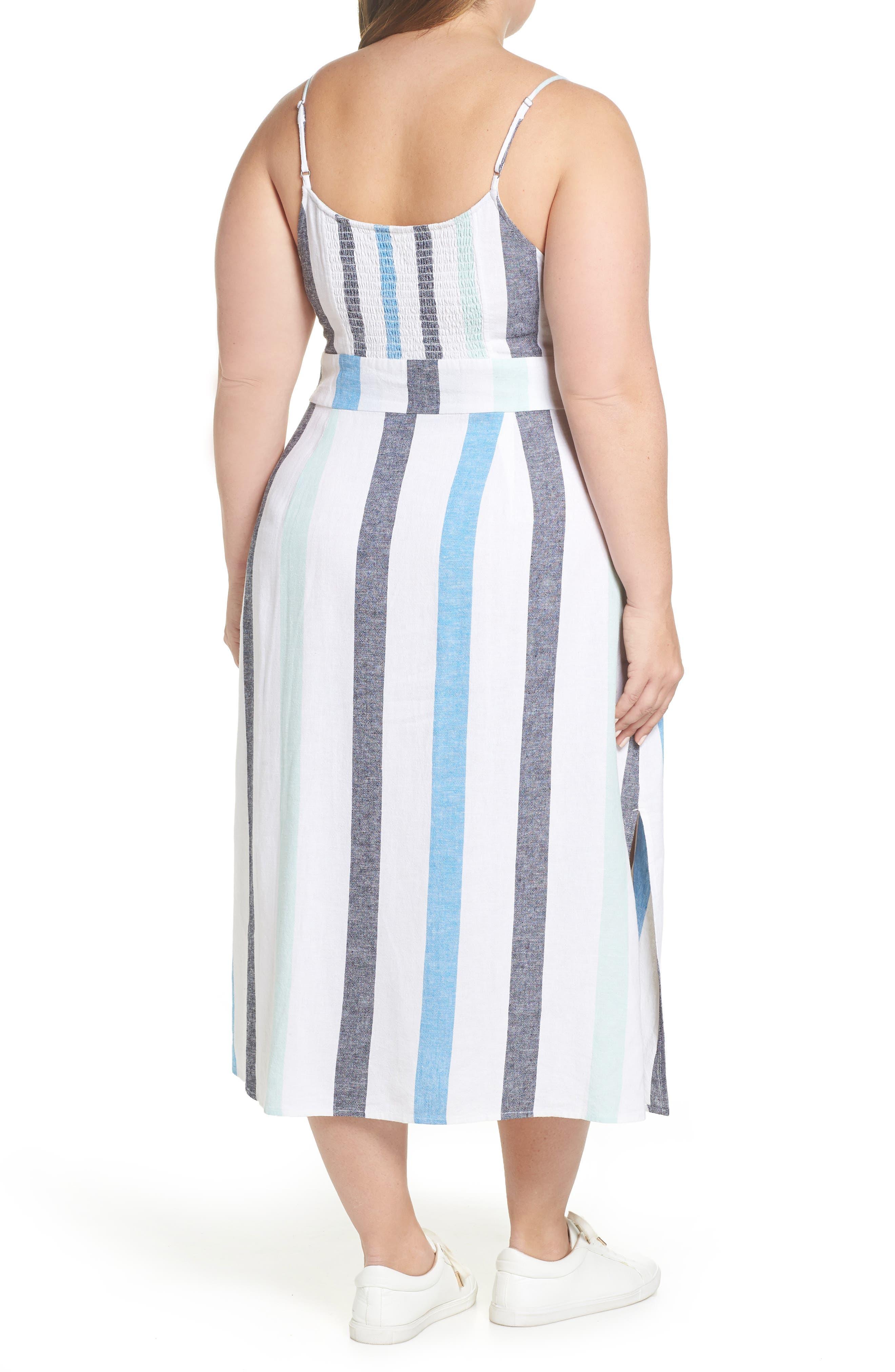 BP.,                             Stripe Sundress,                             Alternate thumbnail 9, color,                             BLUE PLACID LACY STRIPE