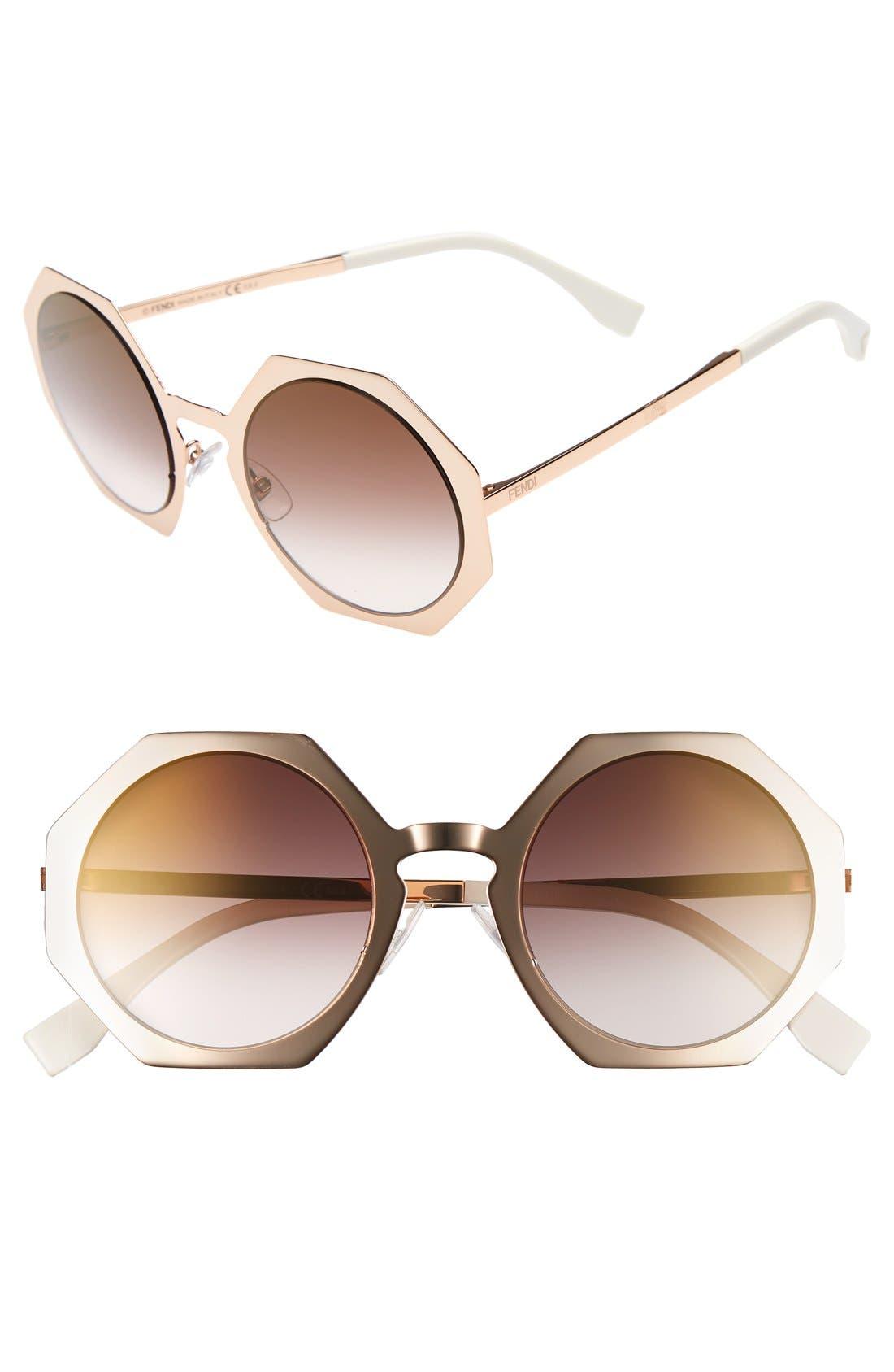 51mm Retro Octagon Sunglasses,                             Main thumbnail 3, color,
