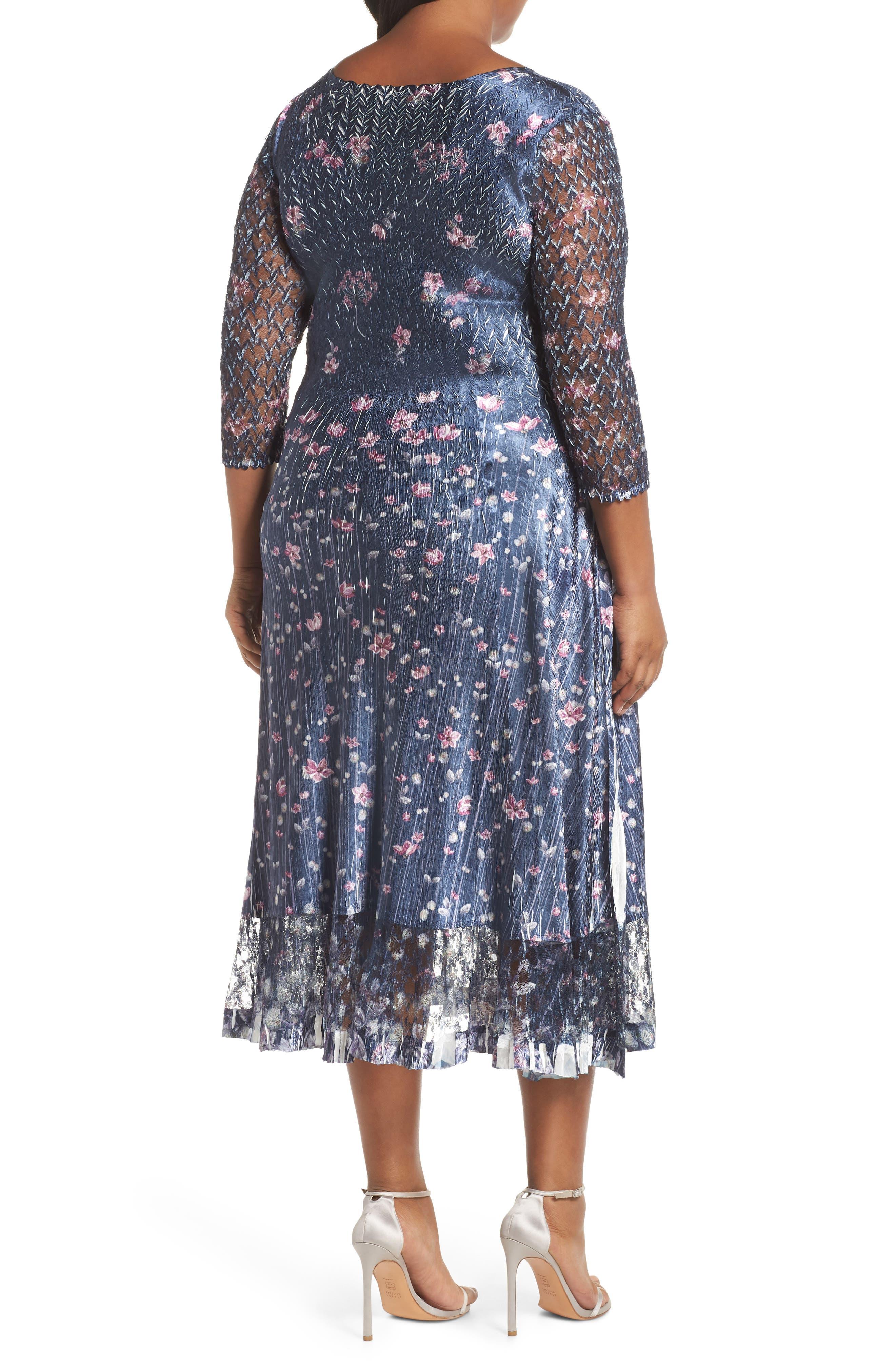 Lace Sleeve Charmeuse Midi Dress,                             Alternate thumbnail 2, color,                             WILD THISTLE