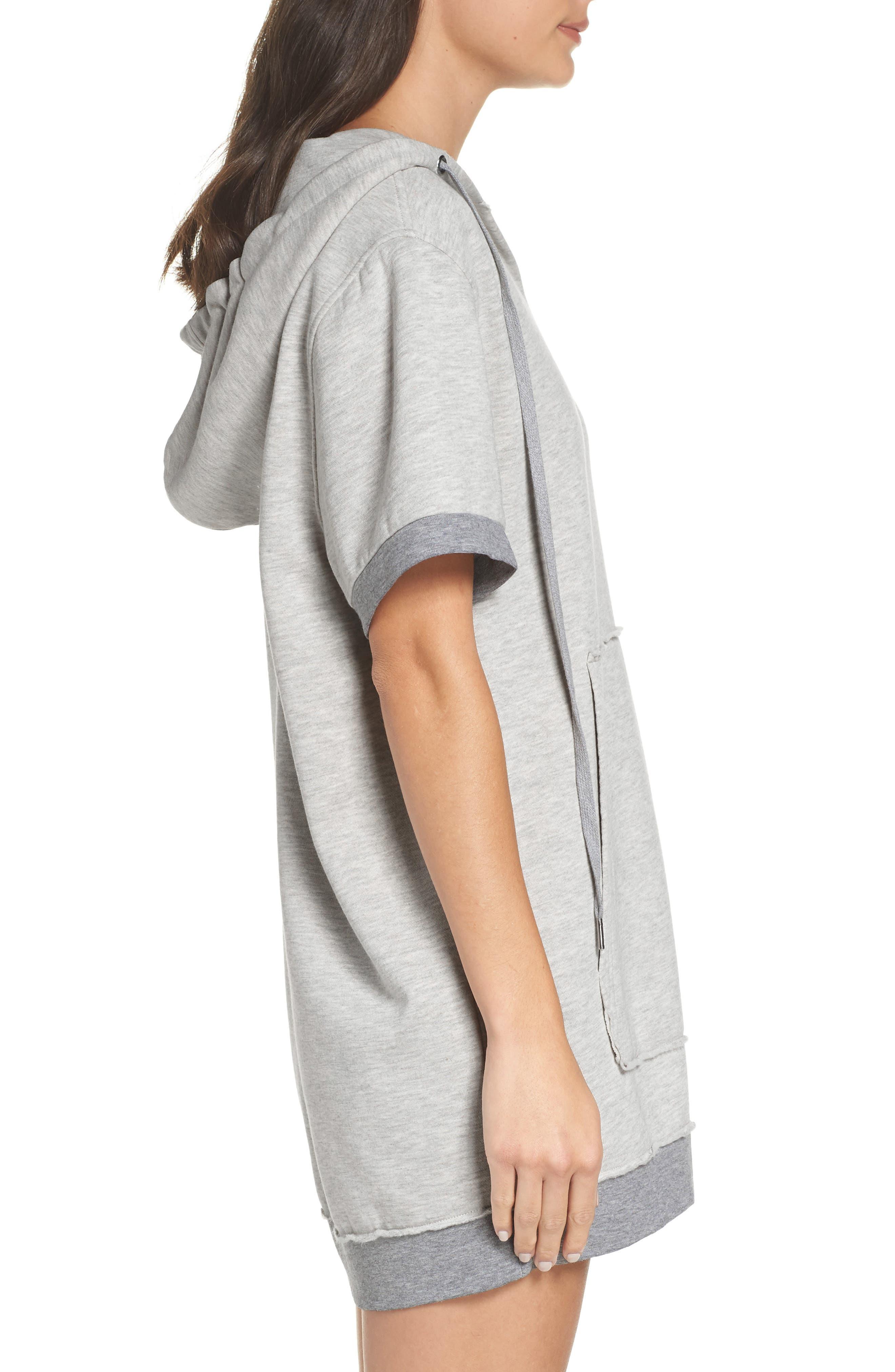 Venice Hooded Lounge Dress,                             Alternate thumbnail 3, color,                             PEBBLE HEATHER
