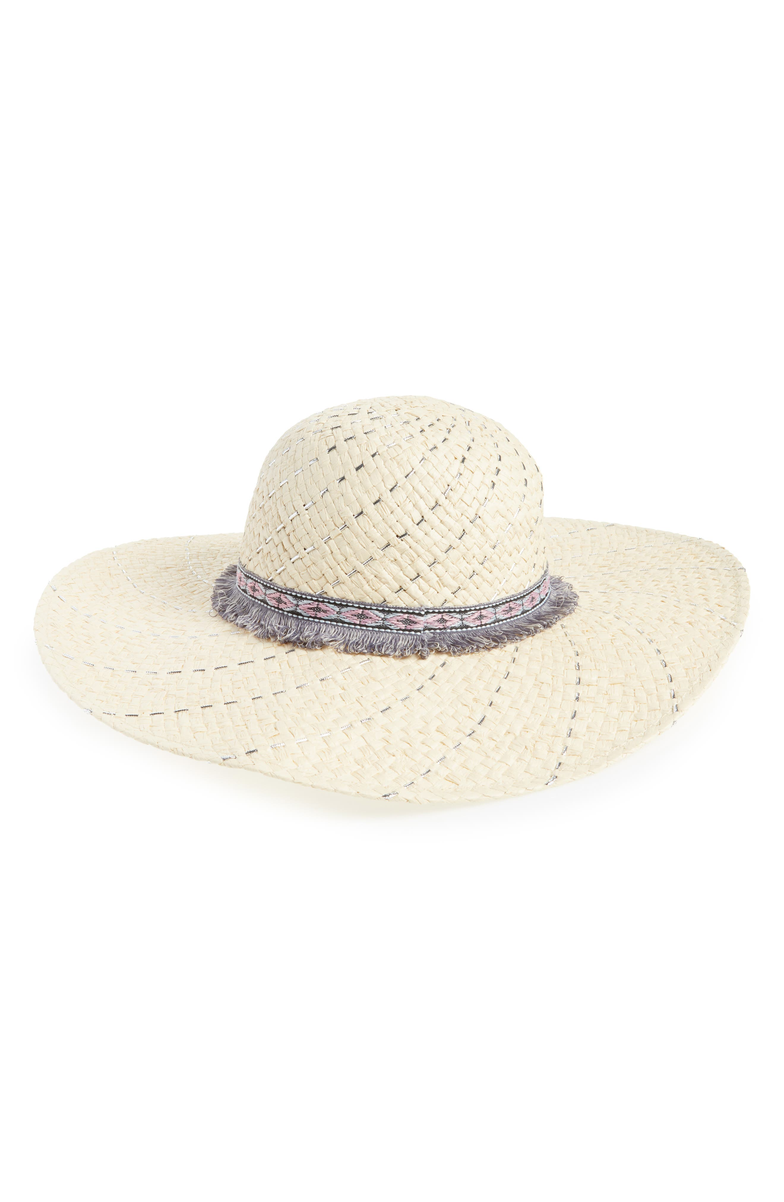 Metallic Stripe Straw Hat,                         Main,                         color, 250