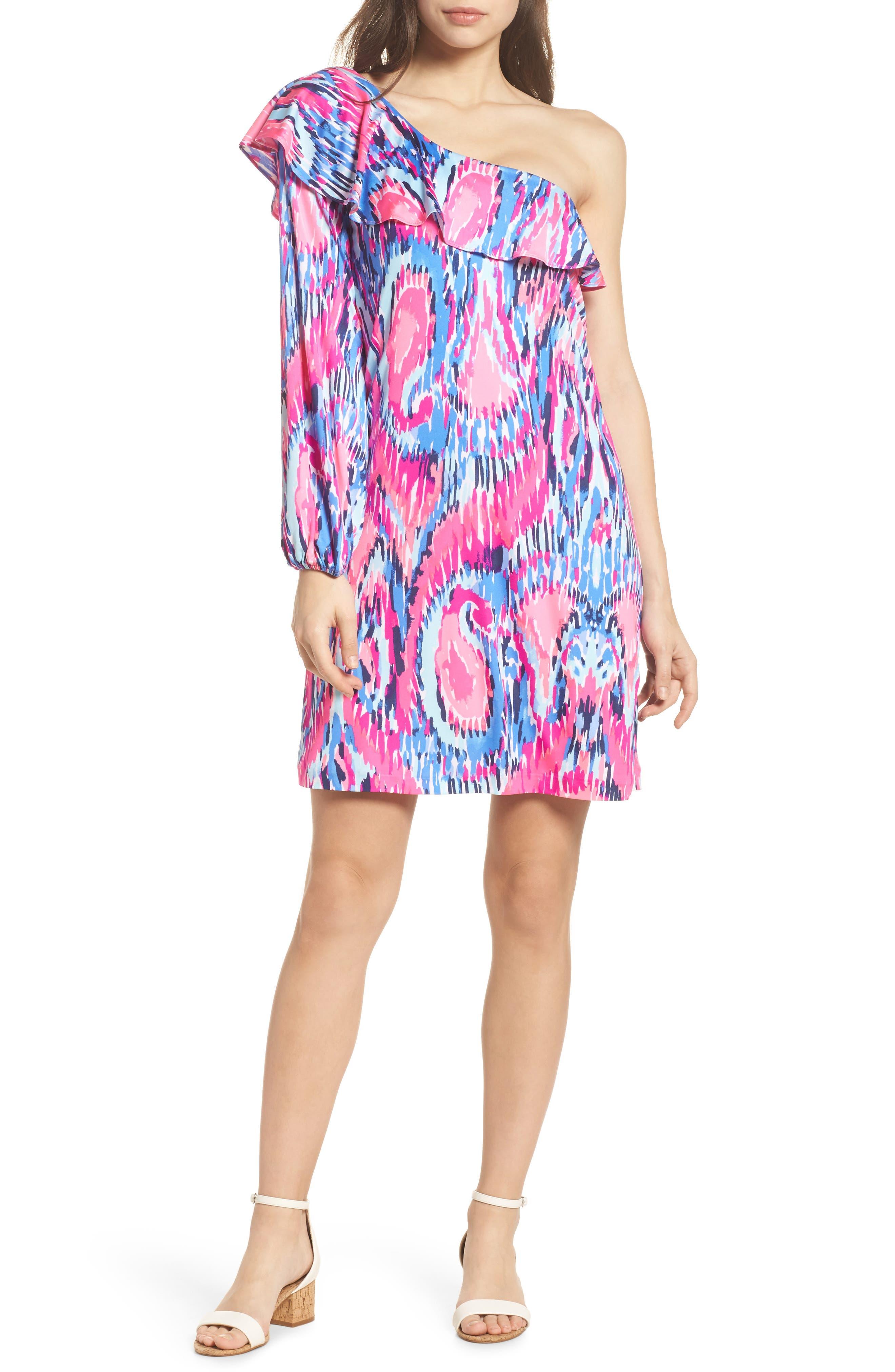 Amante One-Shoulder Silk Dress,                             Alternate thumbnail 5, color,                             650