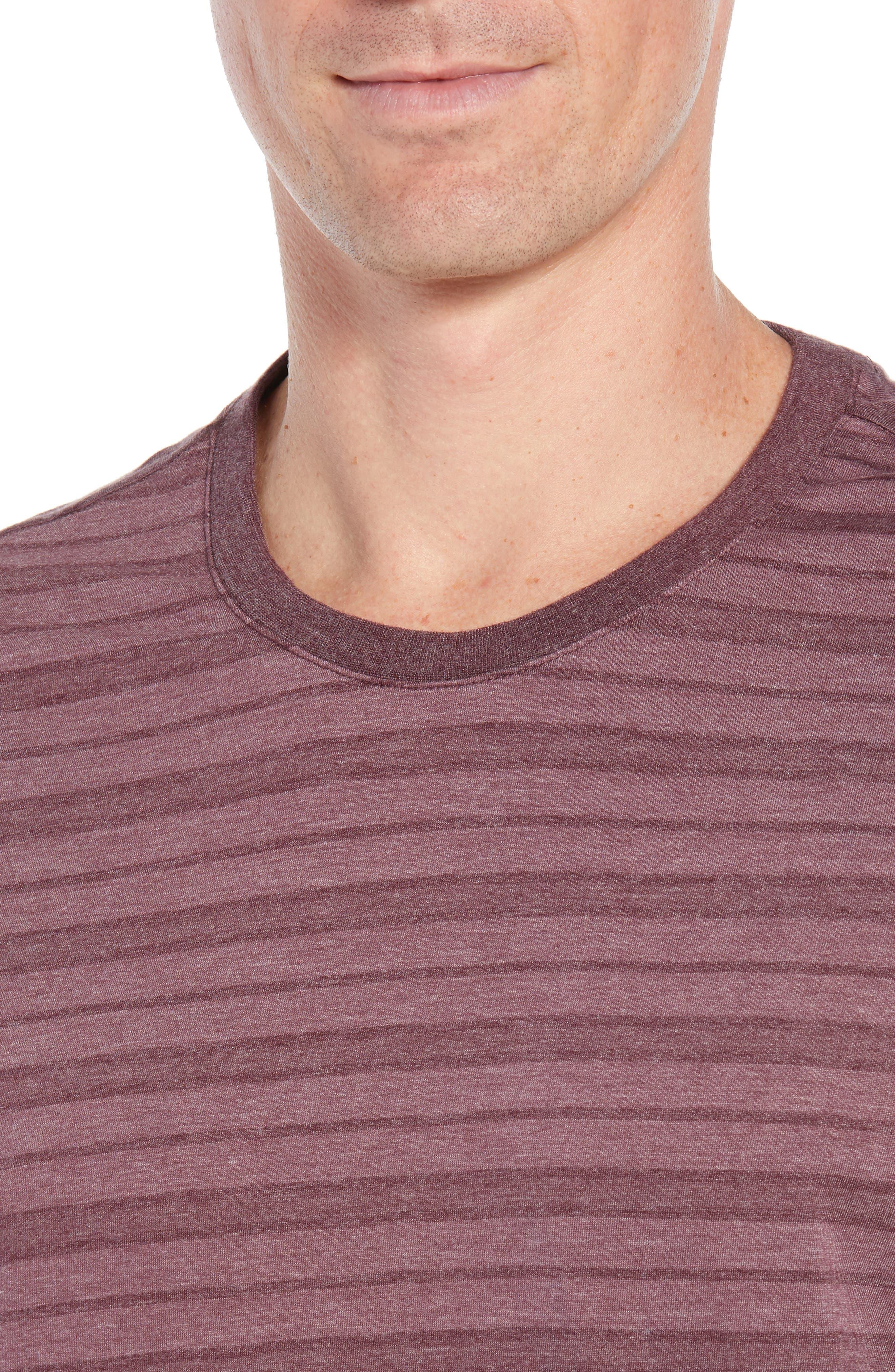 Stripe Cotton Blend Crewneck T-Shirt,                             Alternate thumbnail 4, color,                             WINE
