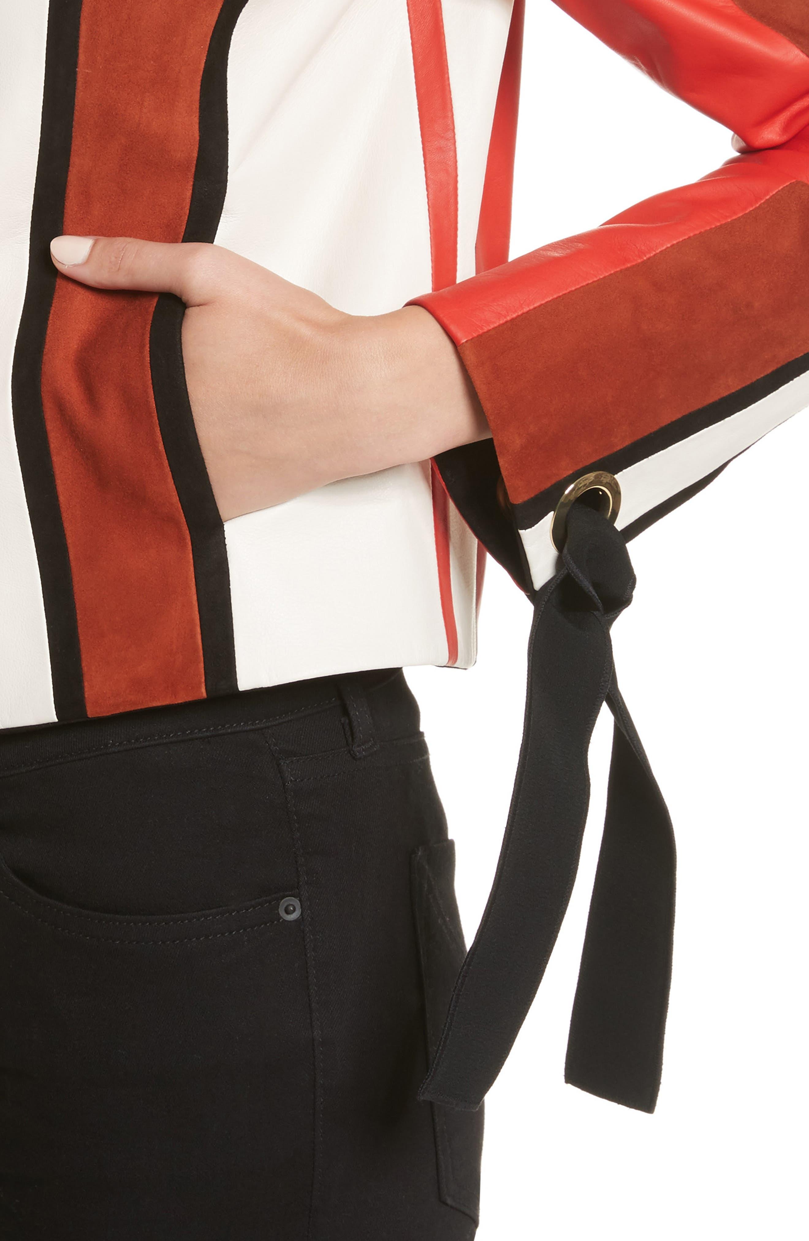 Stripe Collarless Leather Jacket,                             Alternate thumbnail 4, color,                             621