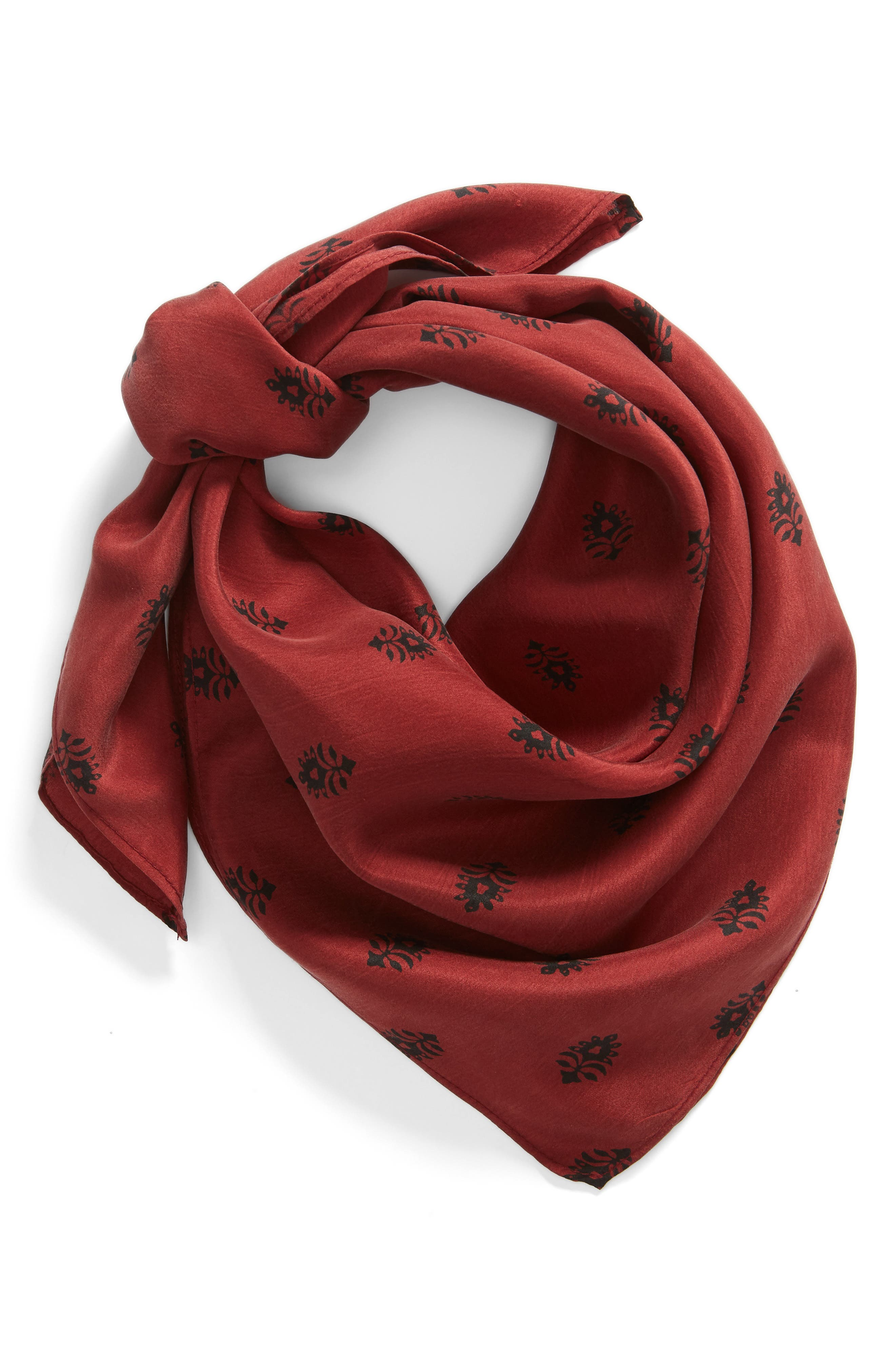 Printed Silk Square Scarf,                             Alternate thumbnail 2, color,                             RED BALI DOTS