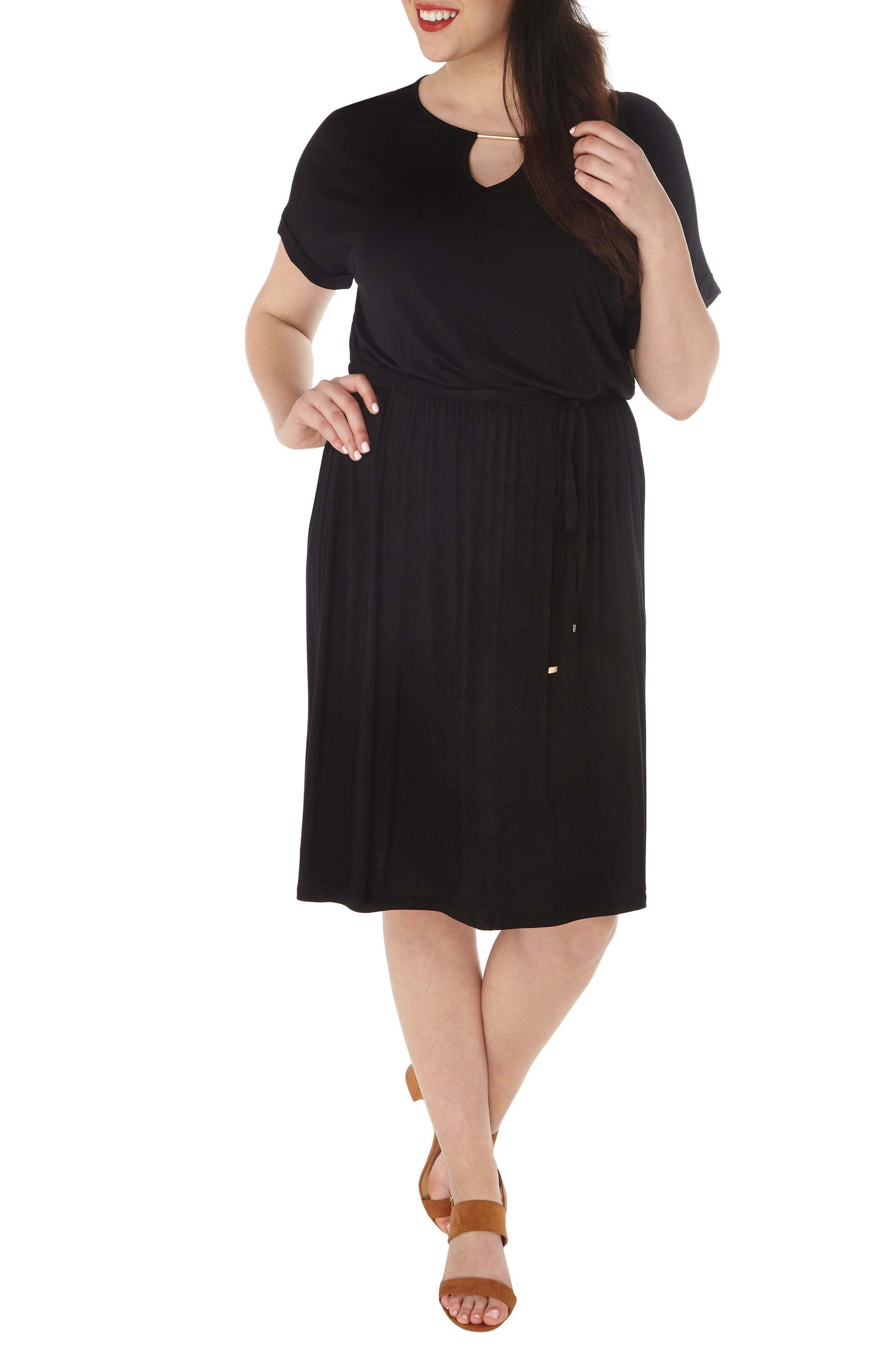 Jersey Dress,                             Alternate thumbnail 4, color,                             001